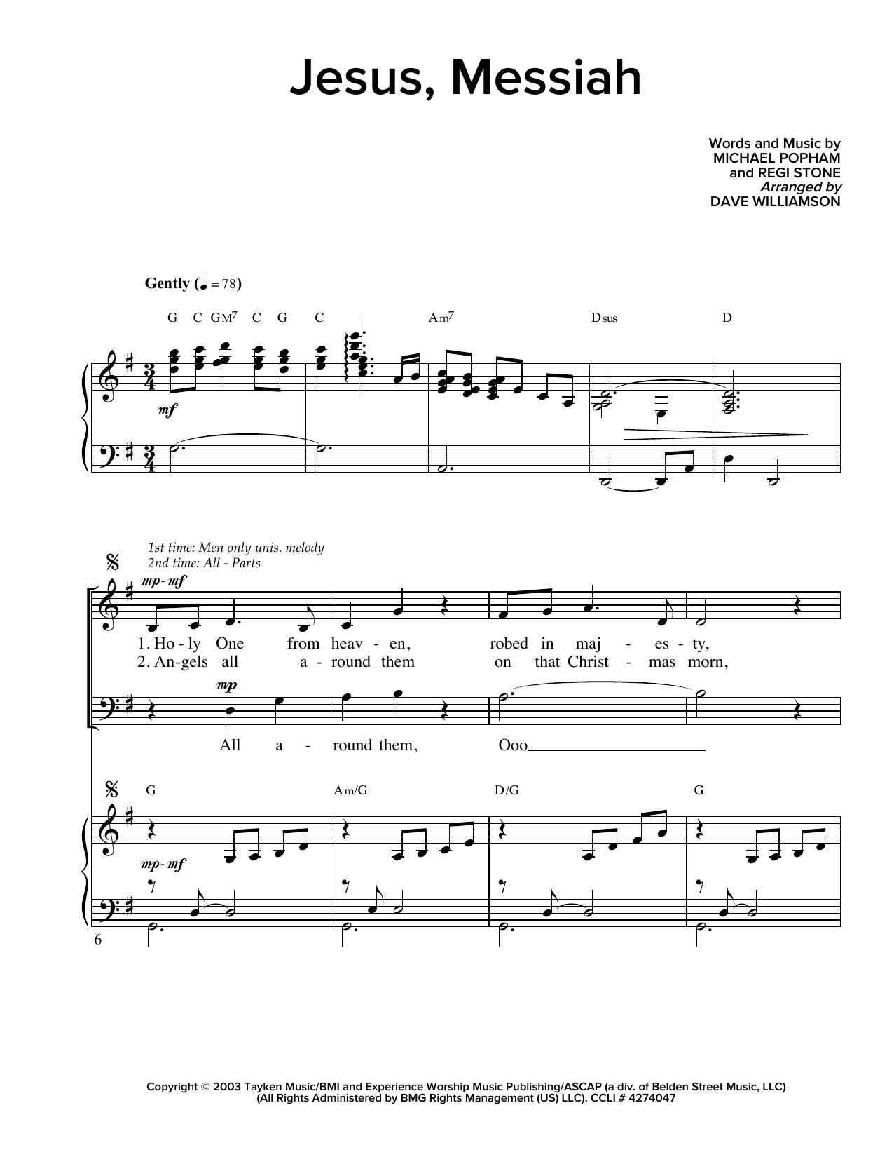 Partition chorale Jesus, Messiah de Regi Stone - SATB