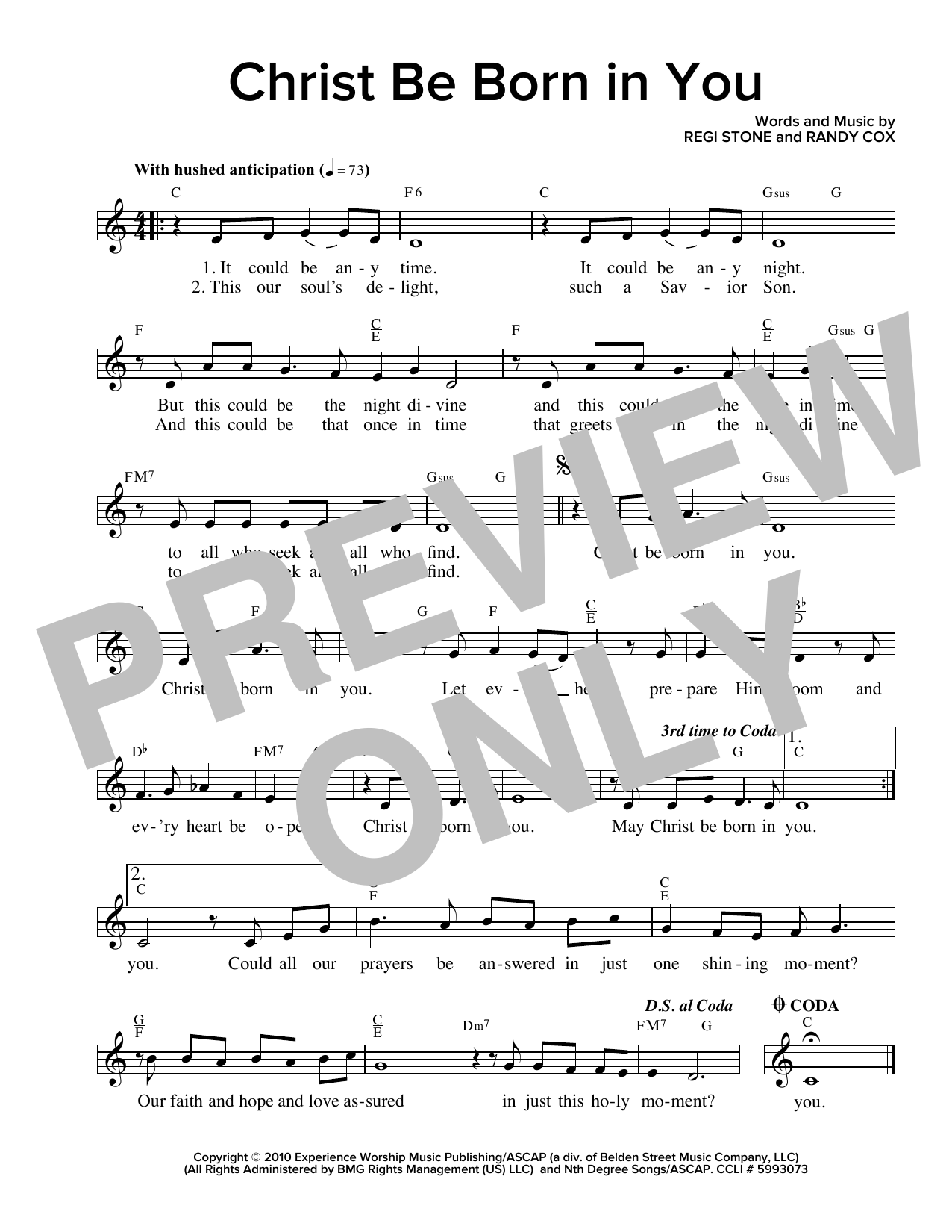 Christ Be Born In You Sheet Music