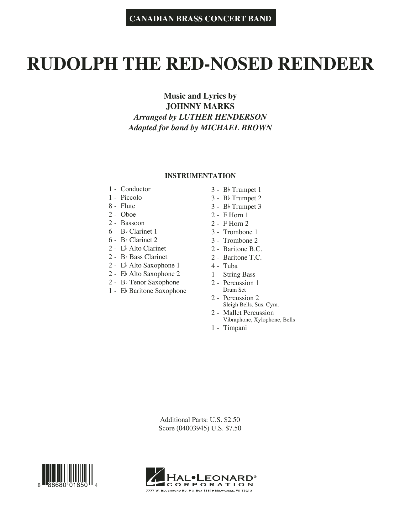 Rudolph the Red-Nosed Reindeer (Canadian Brass) - Conductor Score (Full Score) (Concert Band)
