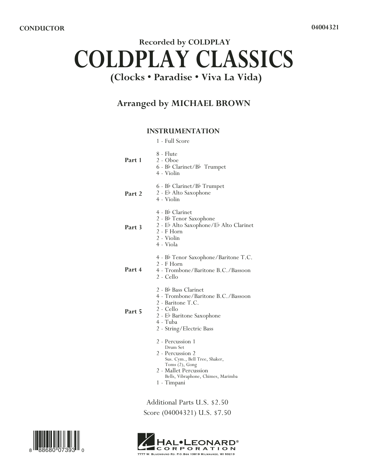 Coldplay Classics - Conductor Score (Full Score) Sheet Music