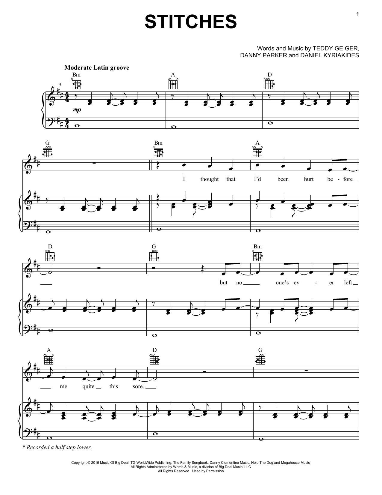 Stitches Sheet Music