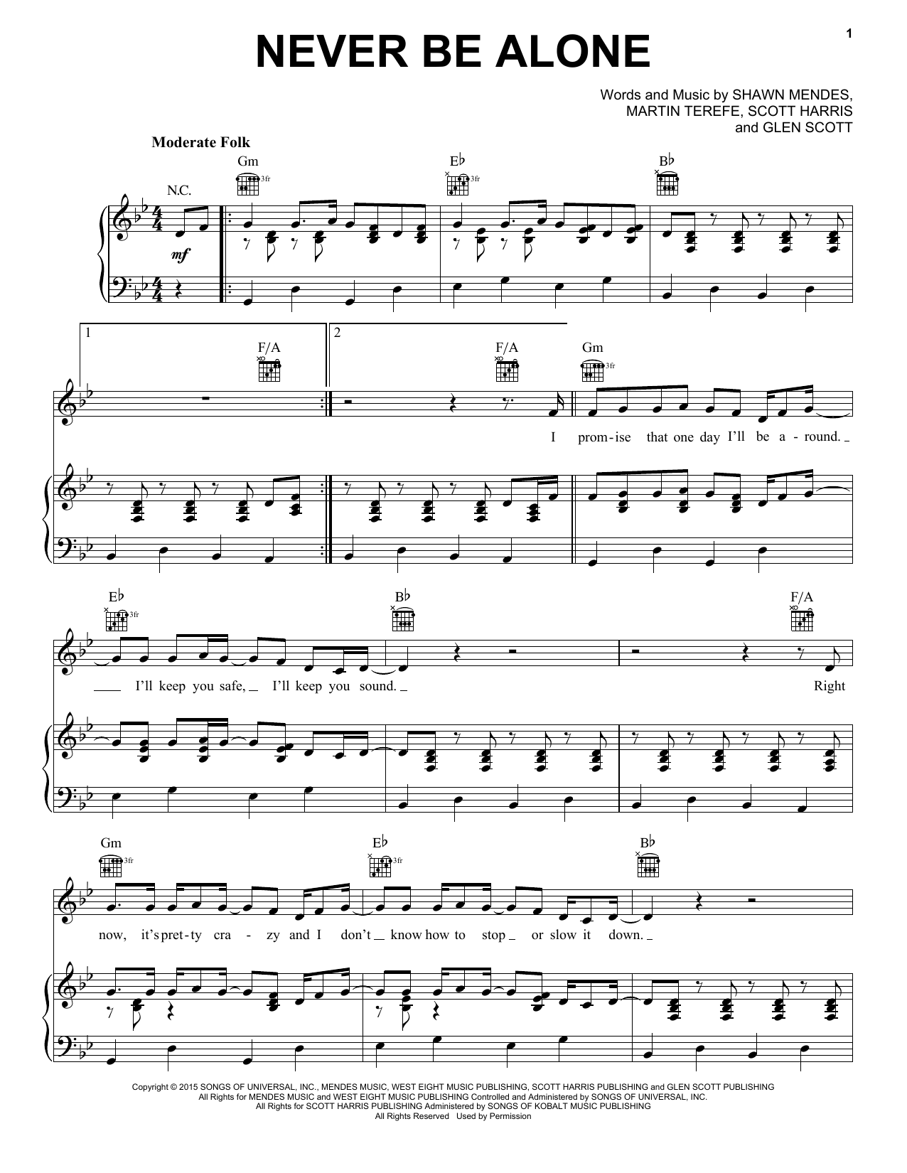 Partition piano Never Be Alone de Shawn Mendes - Piano Voix Guitare (Mélodie Main Droite)