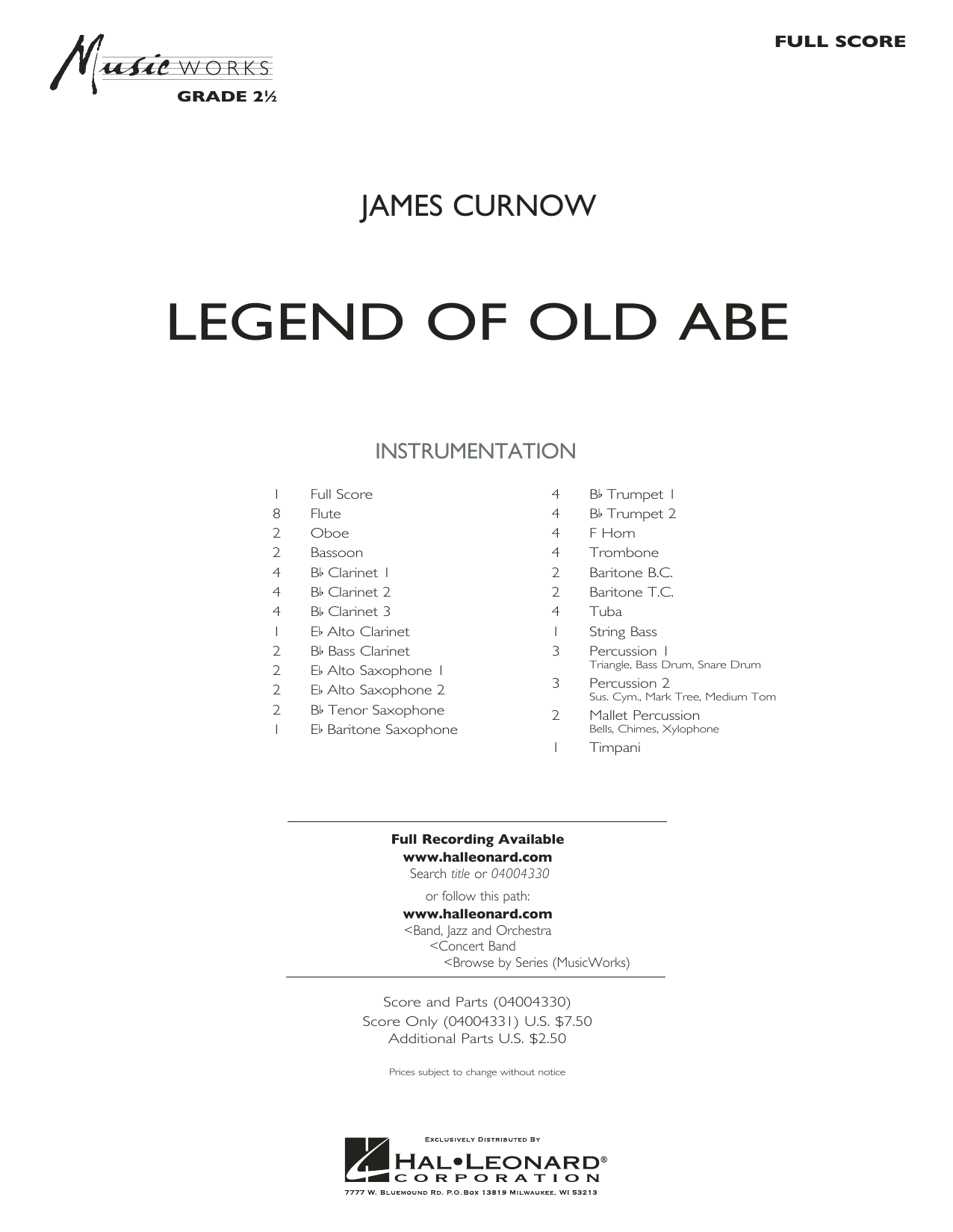 Legend of Old Abe (COMPLETE) sheet music for concert band by James Curnow. Score Image Preview.