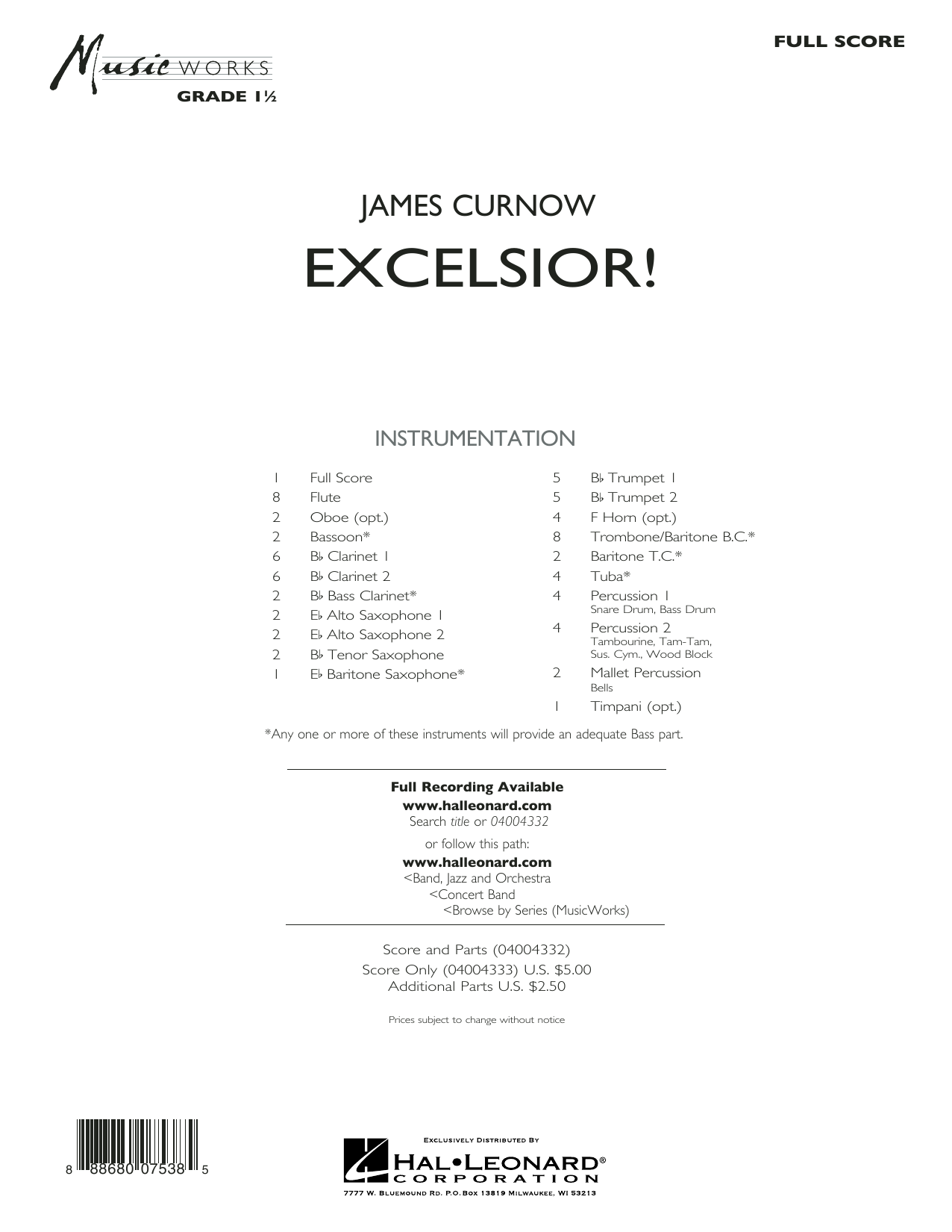 Excelsior! (COMPLETE) sheet music for concert band by James Curnow. Score Image Preview.