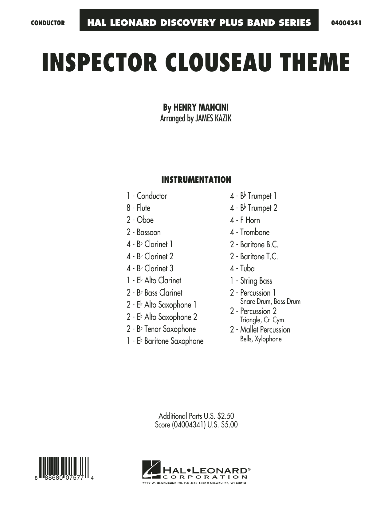 Inspector Clouseau Theme (from The Pink Panther Strikes Again) (COMPLETE) sheet music for concert band by James Kazik and Henry Mancini. Score Image Preview.