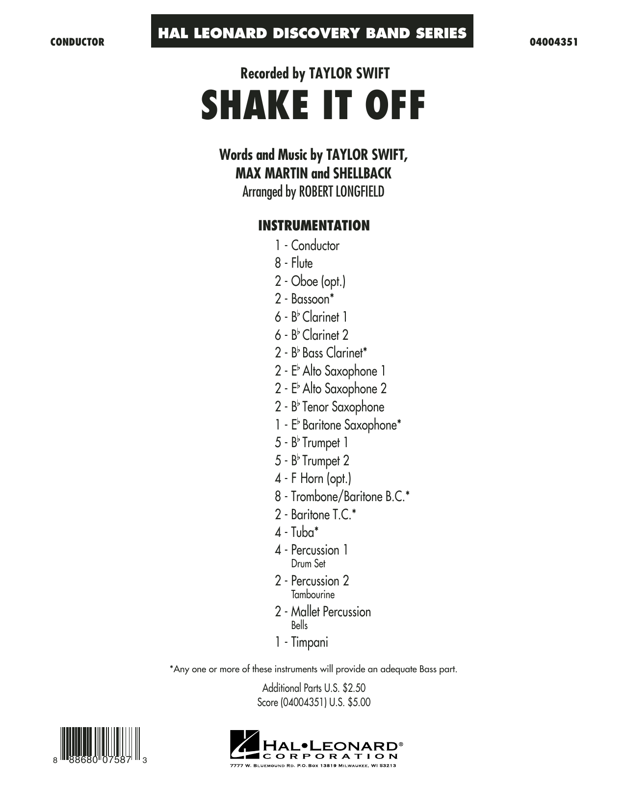 Shake It Off (COMPLETE) sheet music for concert band by Robert Longfield, Johan Schuster, Max Martin, Shellback and Taylor Swift. Score Image Preview.