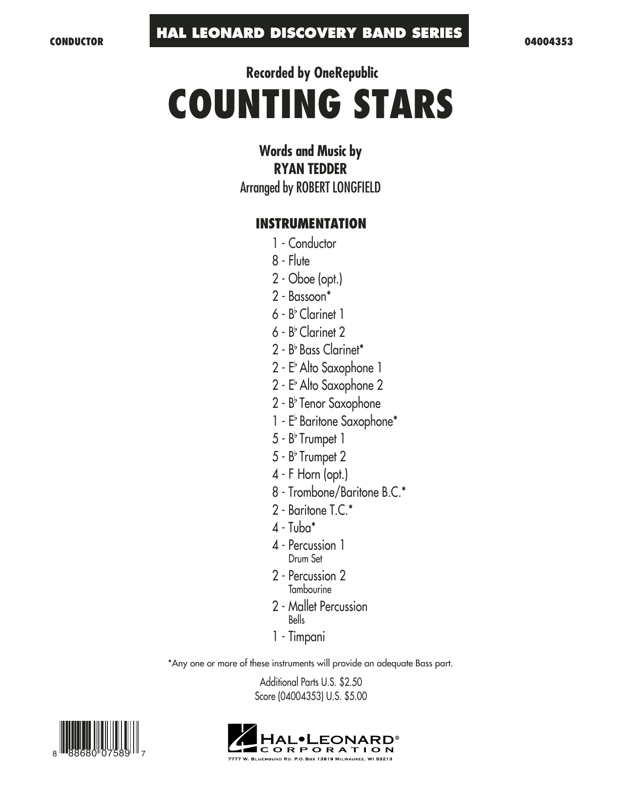 Counting Stars (COMPLETE) sheet music for concert band by Robert Longfield, OneRepublic and Ryan Tedder. Score Image Preview.