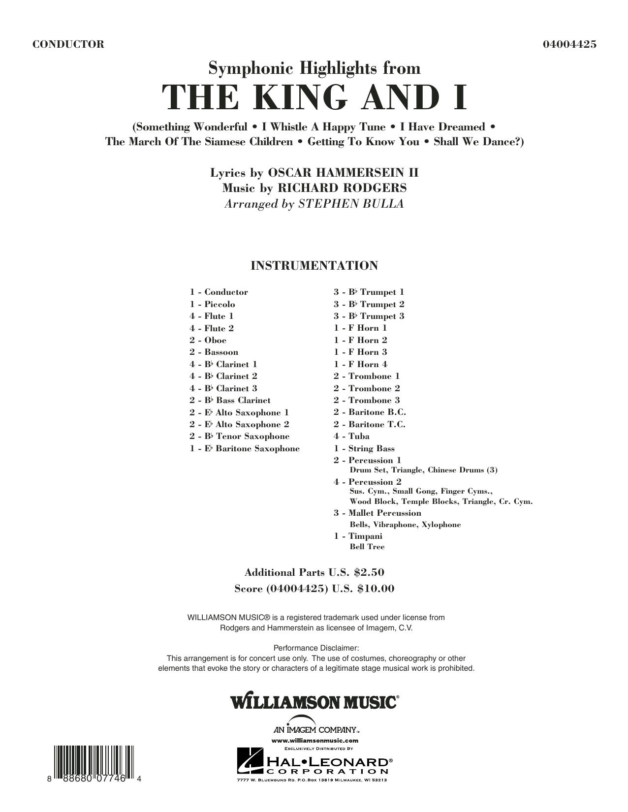 Symphonic Highlights from The King and I (COMPLETE) sheet music for concert band by Stephen Bulla. Score Image Preview.