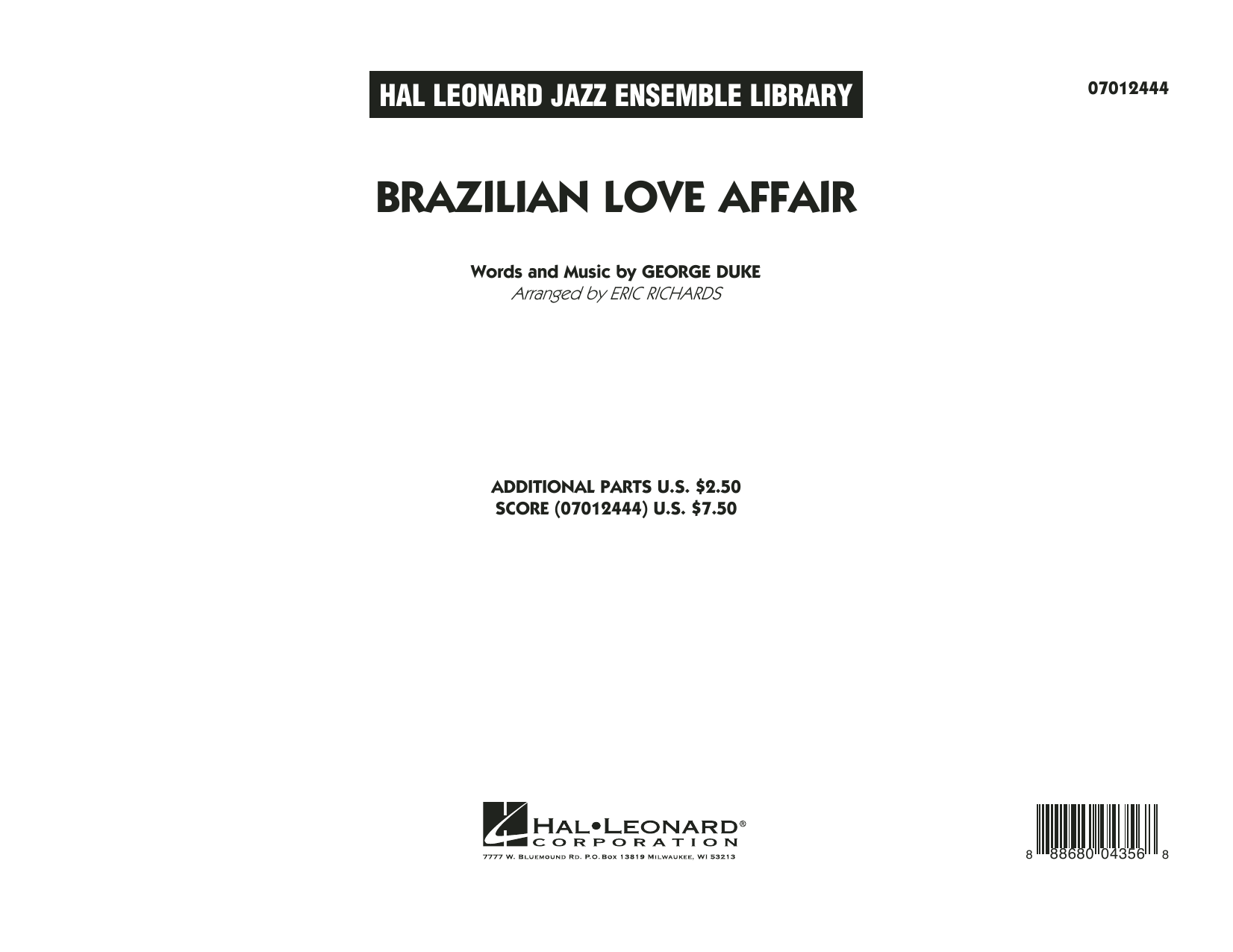 Brazilian Love Affair (COMPLETE) sheet music for jazz band by Eric Richards and George Duke. Score Image Preview.