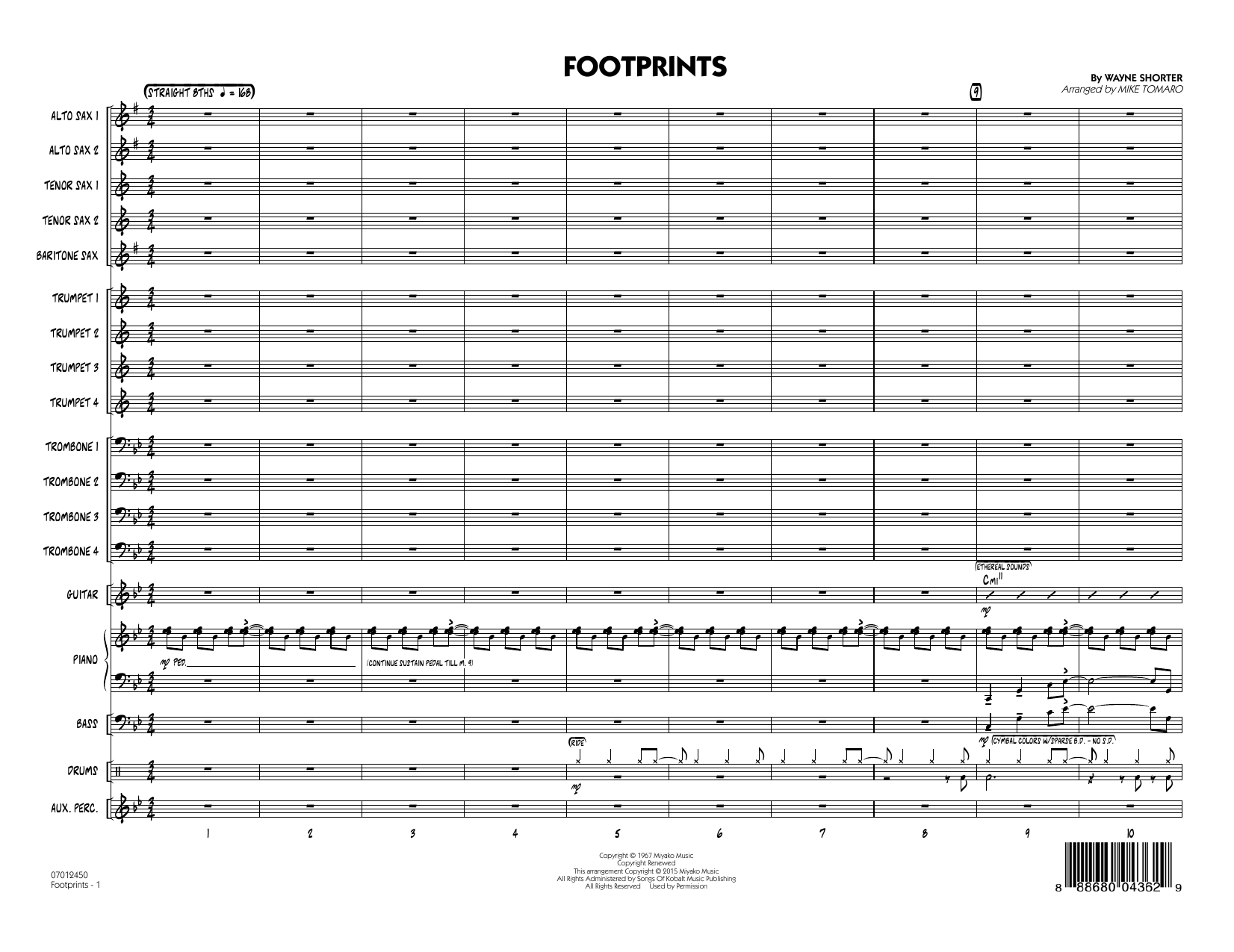 Footprints (COMPLETE) sheet music for jazz band by Mike Tomaro and Wayne Shorter. Score Image Preview.