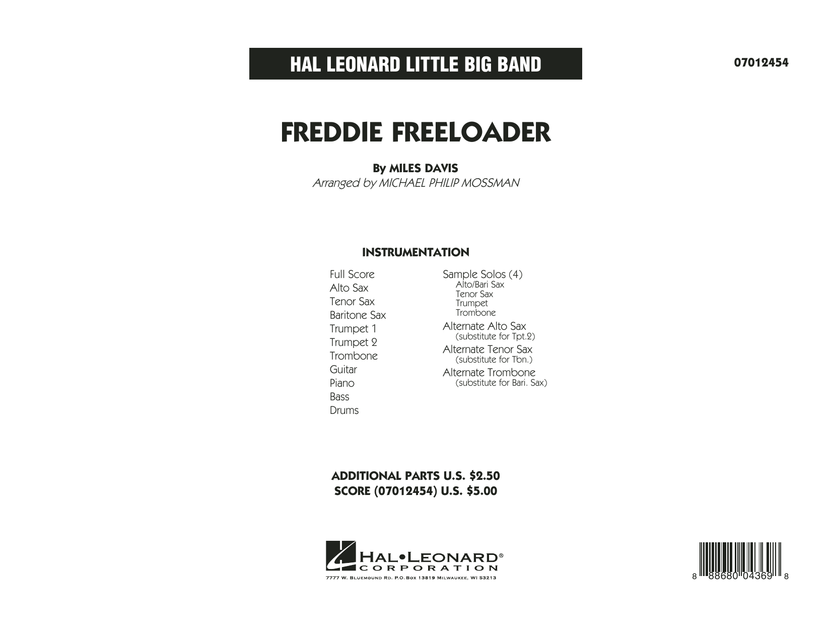 Freddie Freeloader (COMPLETE) sheet music for jazz band by Miles Davis and Michael Philip Mossman. Score Image Preview.
