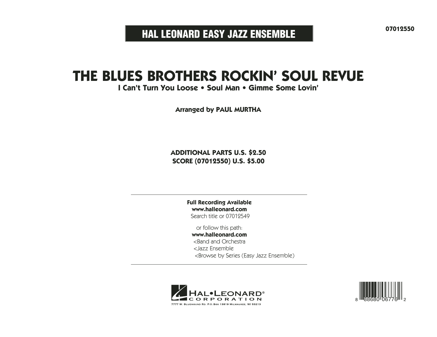 The Blues Brothers Rockin' Soul Revue - Conductor Score (Full Score) (Jazz Ensemble)