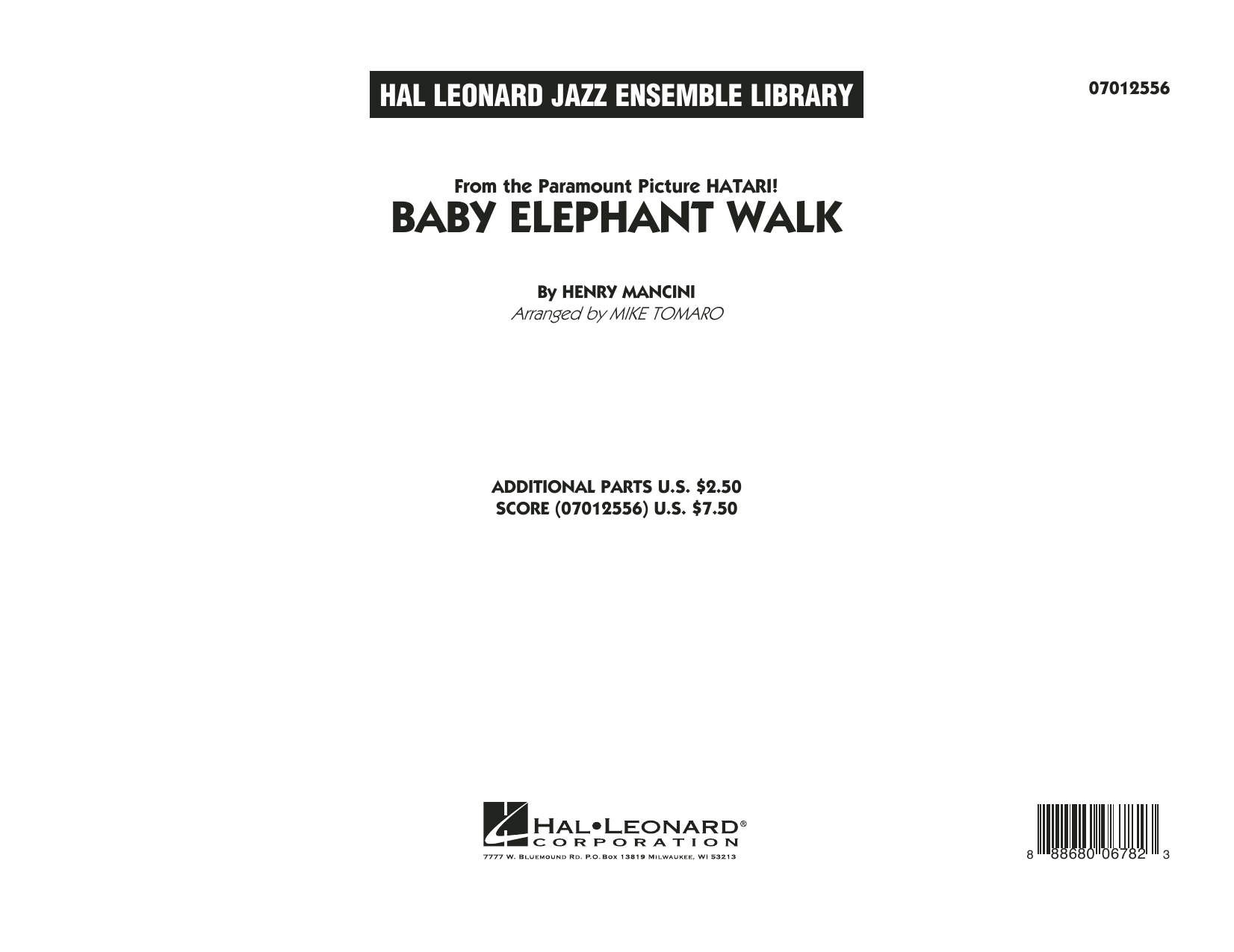 Baby Elephant Walk (COMPLETE) sheet music for jazz band by Mike Tomaro, Hal David, Henry Mancini and Lawrence Welk. Score Image Preview.
