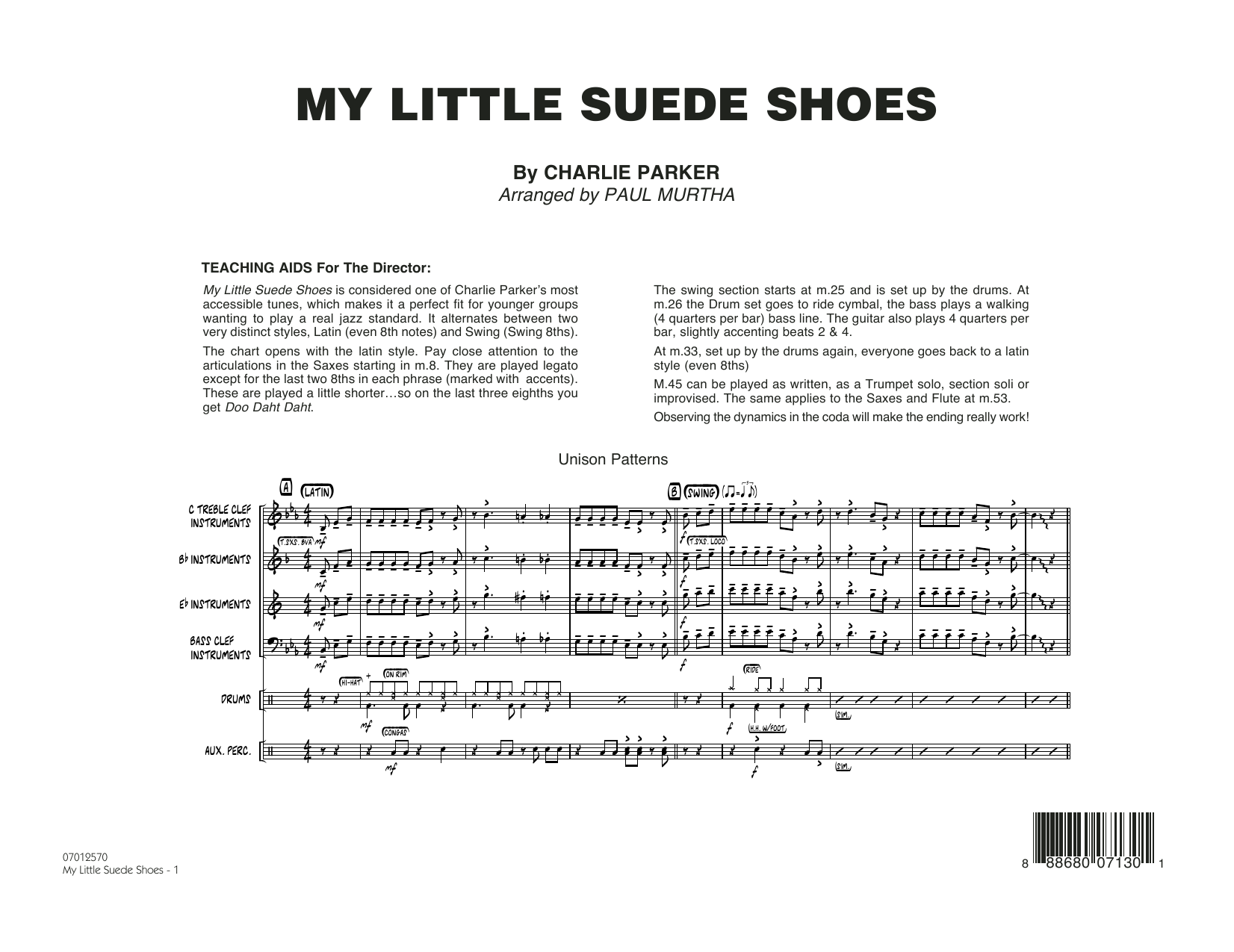My Little Suede Shoes (COMPLETE) sheet music for jazz band by Paul Murtha and Charlie Parker. Score Image Preview.