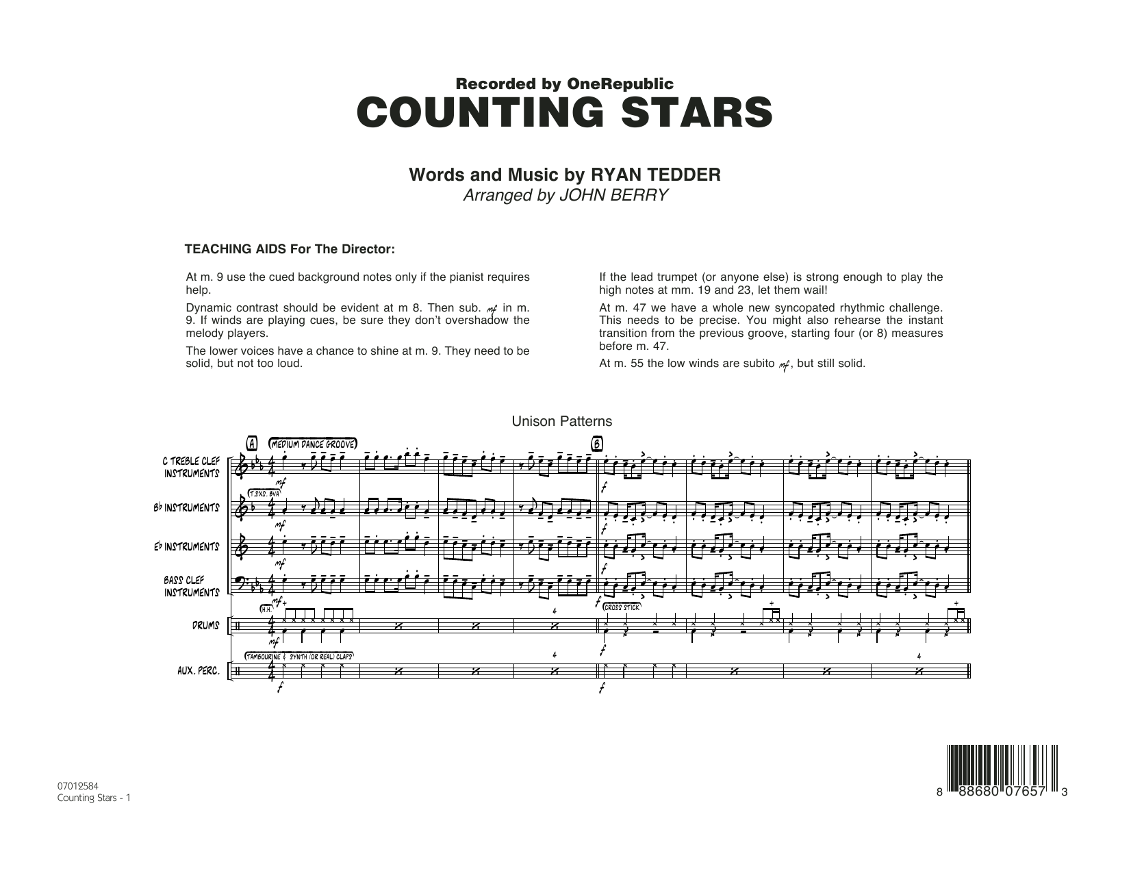 Counting Stars (COMPLETE) sheet music for jazz band by John Berry, OneRepublic and Ryan Tedder. Score Image Preview.