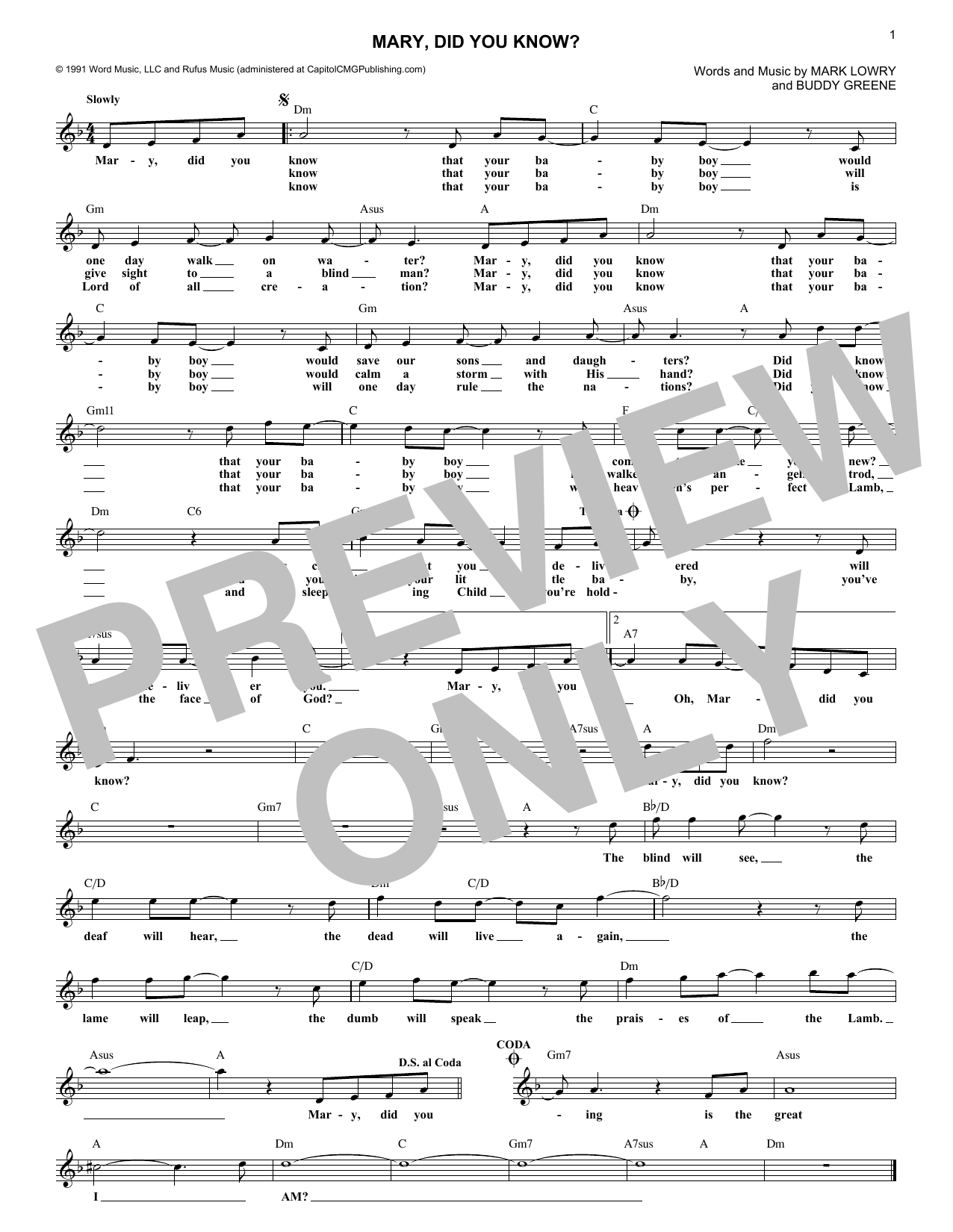 Mary, Did You Know? (Lead Sheet / Fake Book)
