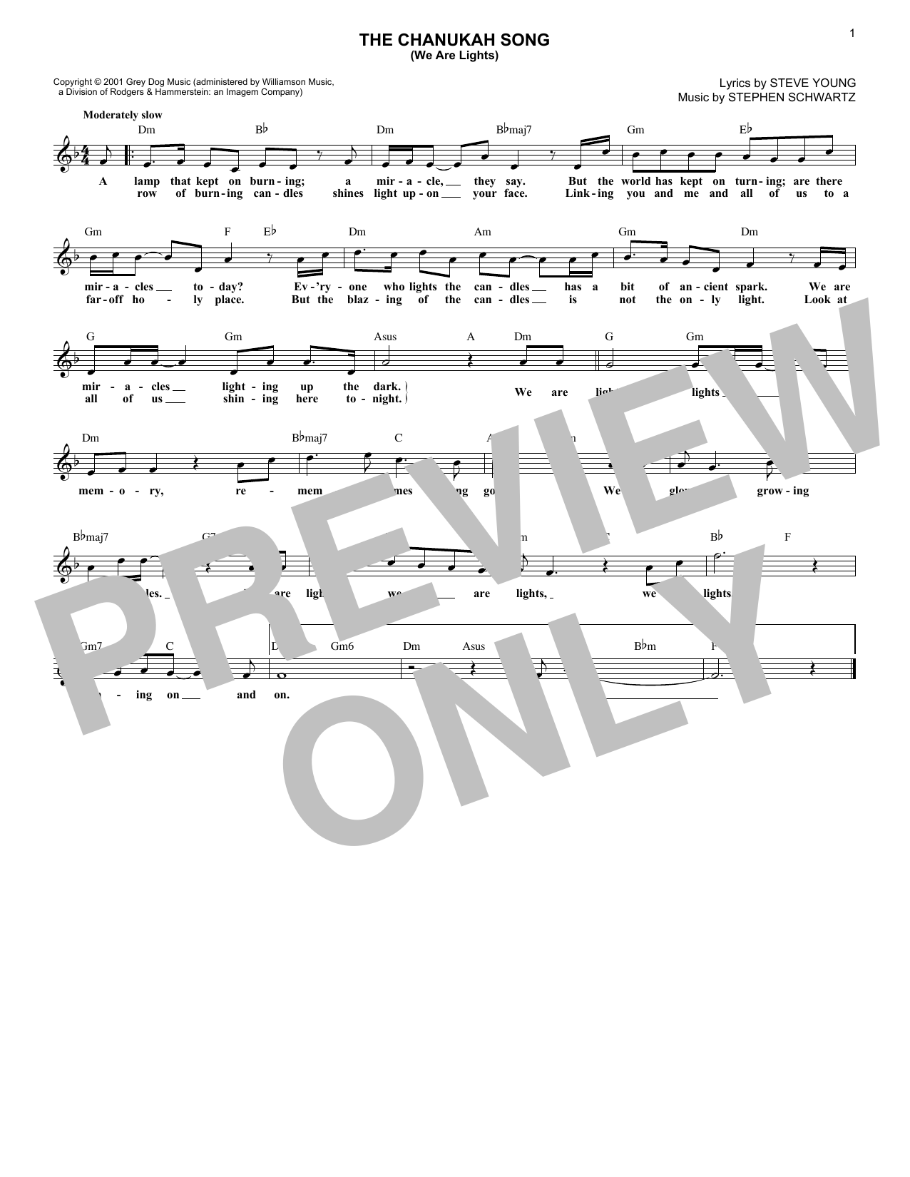 The Chanukah Song (We Are Lights) (Lead Sheet / Fake Book)