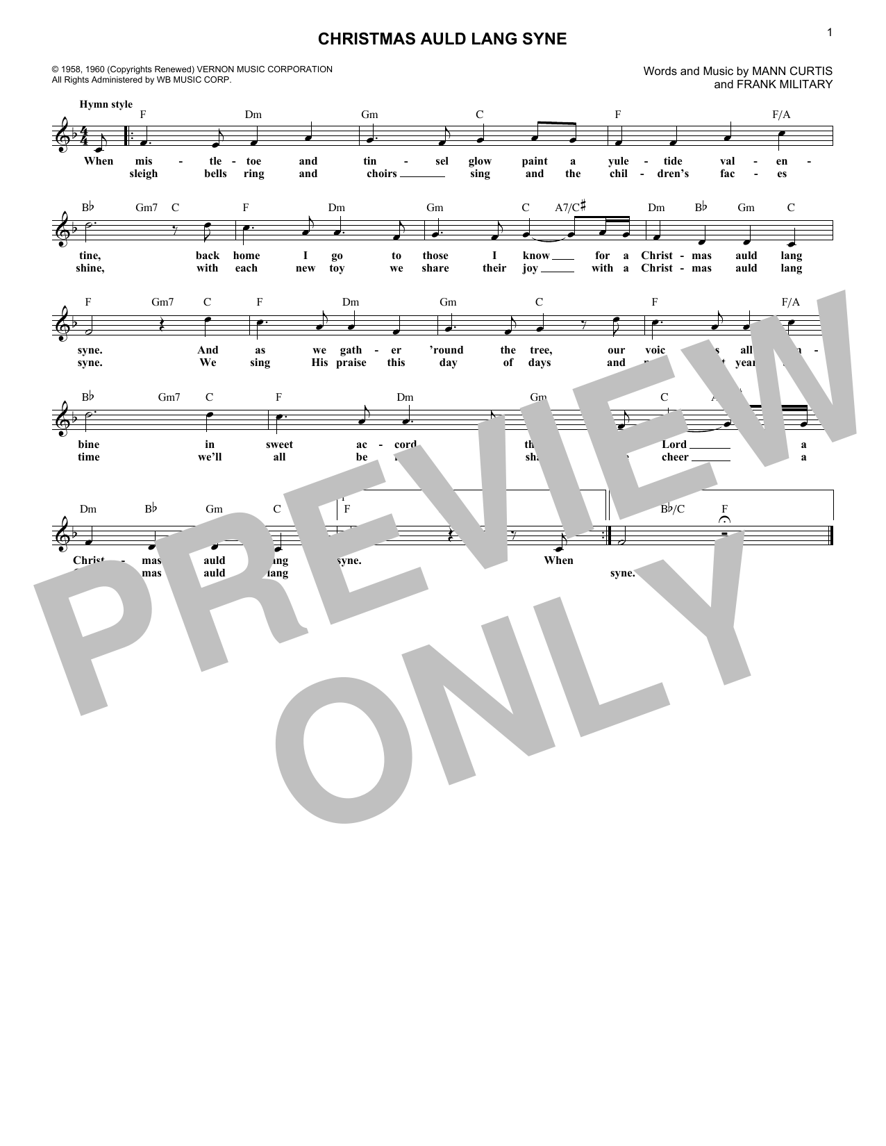 Christmas Auld Lang Syne (Lead Sheet / Fake Book)