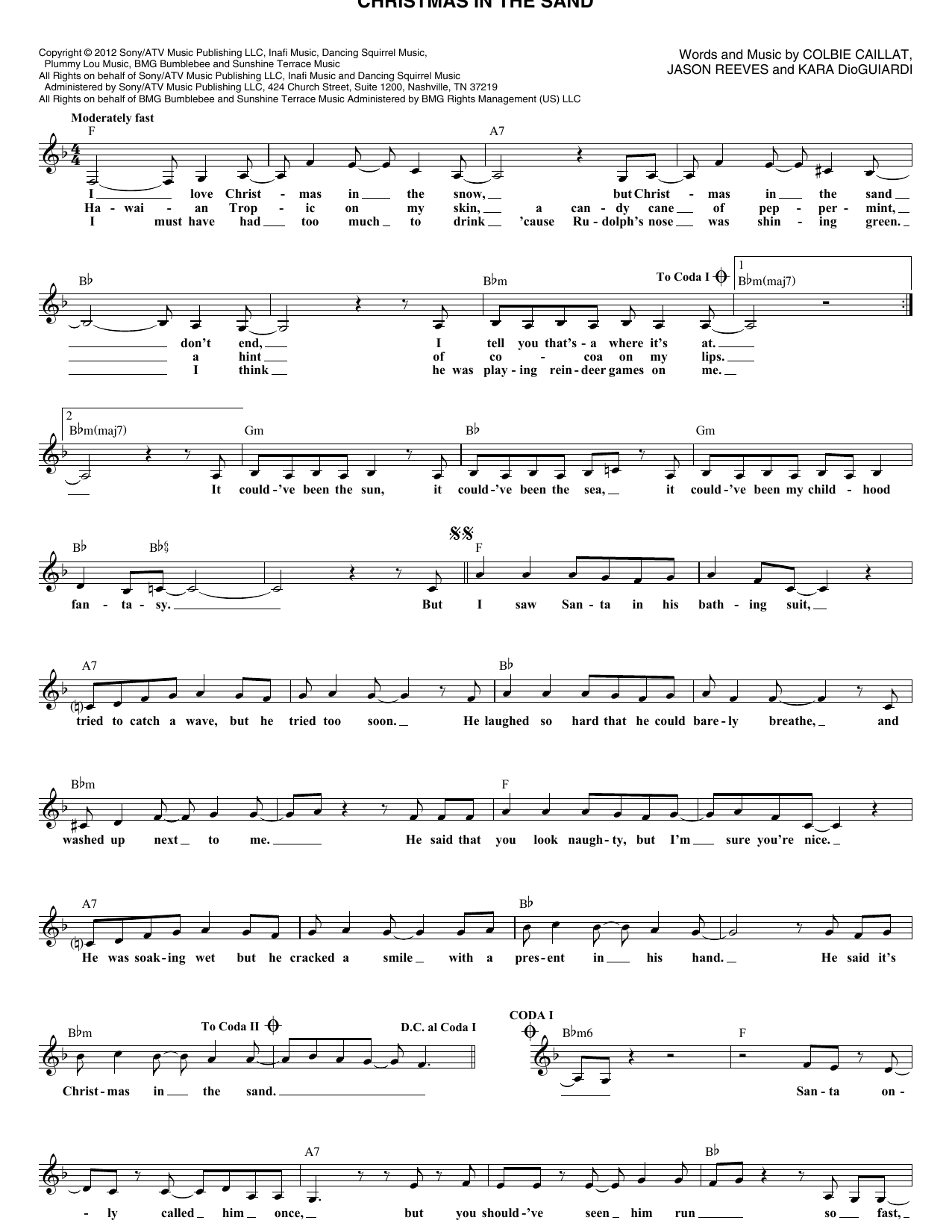 Christmas In The Sand (Lead Sheet / Fake Book)
