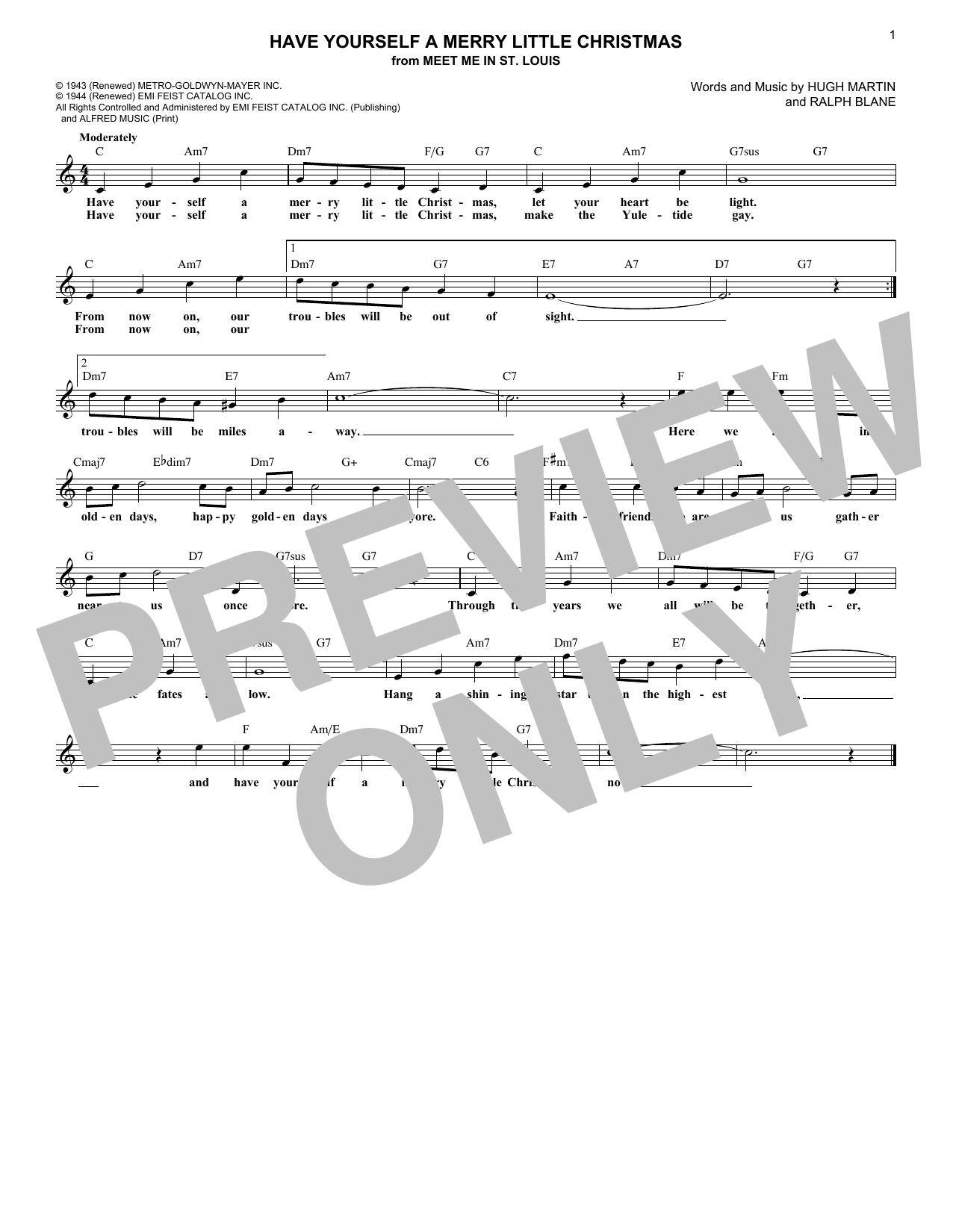 Have Yourself A Merry Little Christmas (Lead Sheet / Fake Book)
