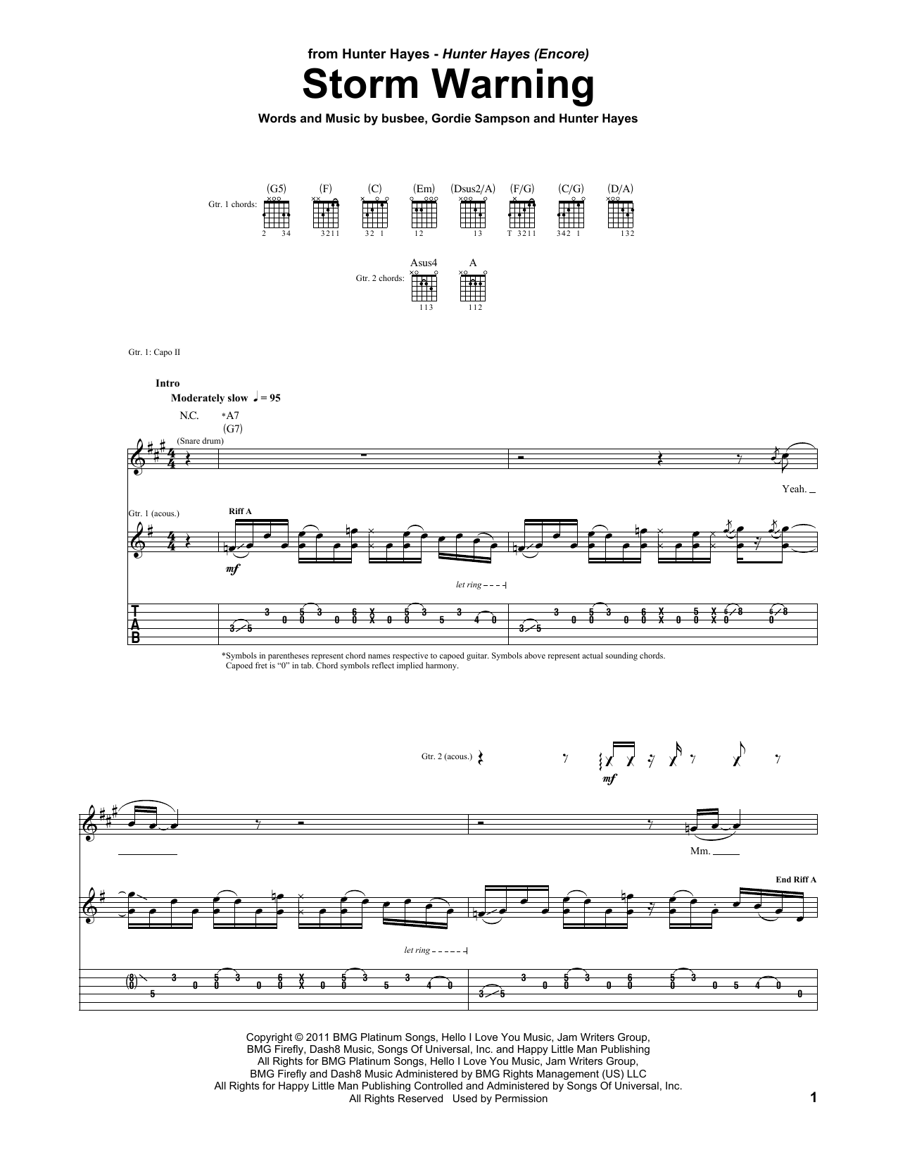 Tablature guitare Storm Warning de Hunter Hayes - Tablature Guitare