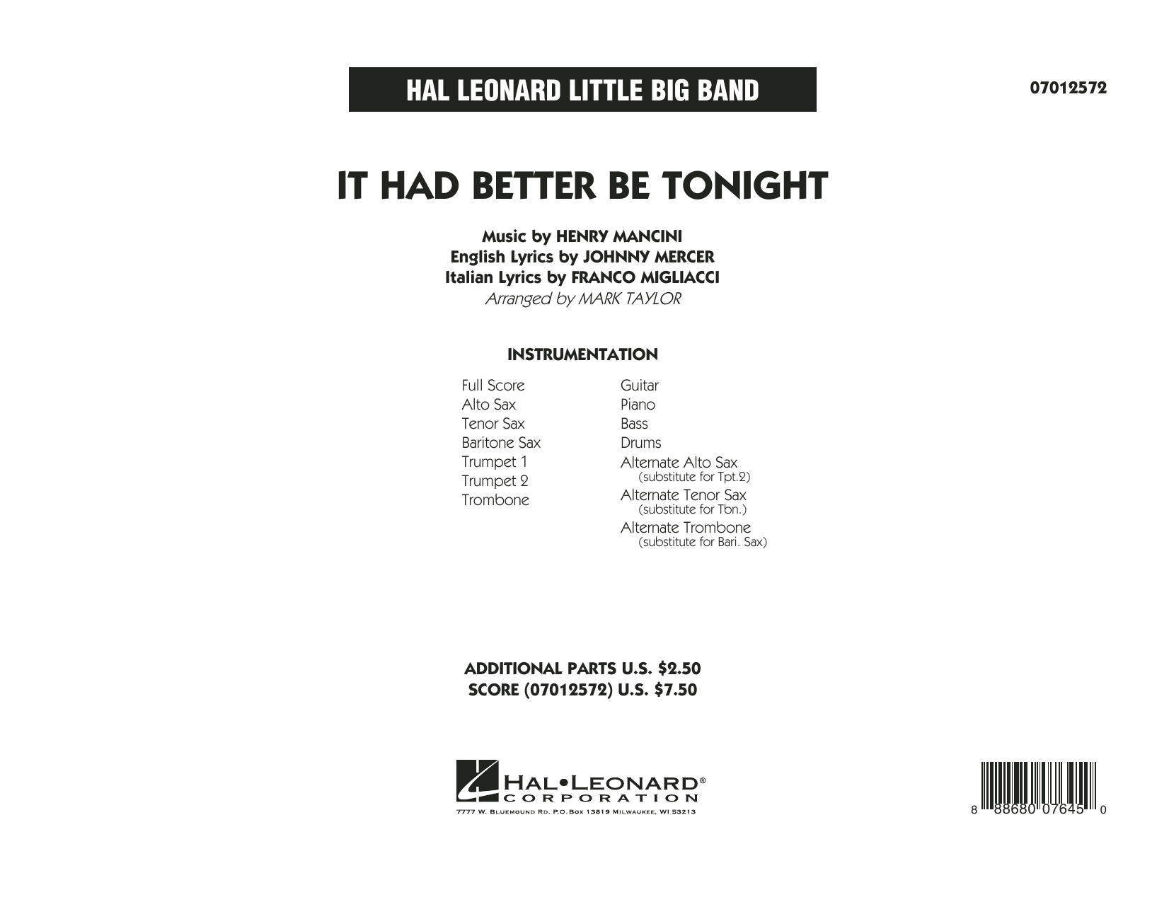 It Had Better Be Tonight (COMPLETE) sheet music for jazz band by Mark Taylor, Franco Migliacci, Henry Mancini, Johnny Mercer and Michael Buble. Score Image Preview.