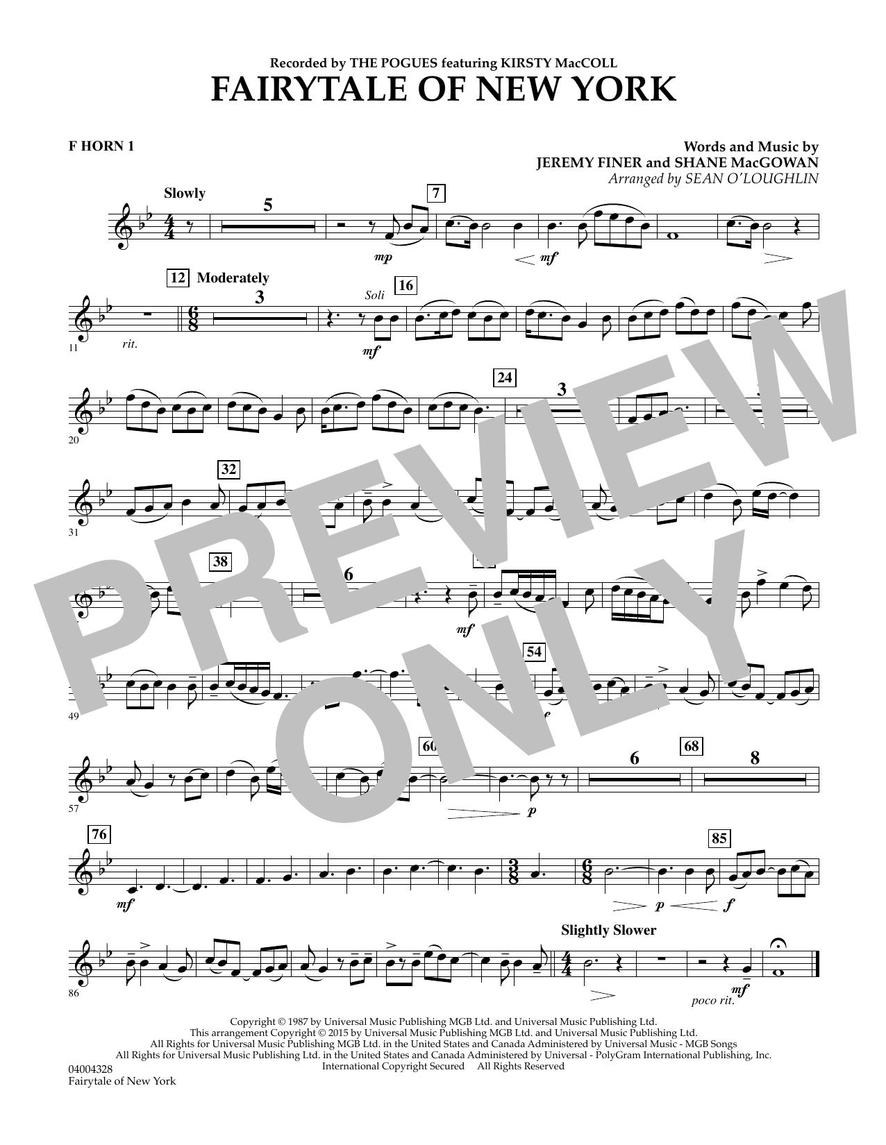 Fairytale of New York - F Horn 1 (Concert Band)