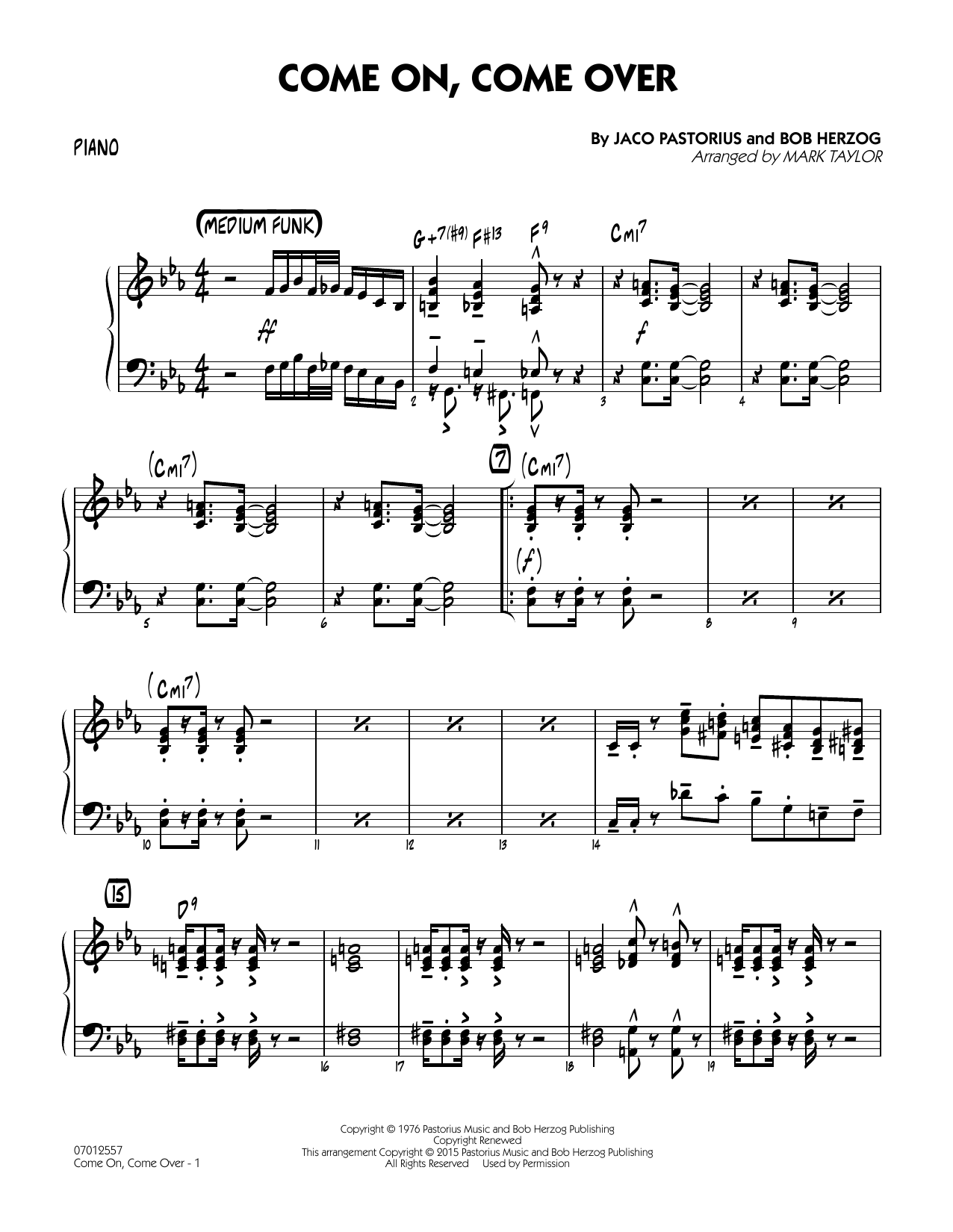 Come On, Come Over - Piano (Jazz Ensemble)