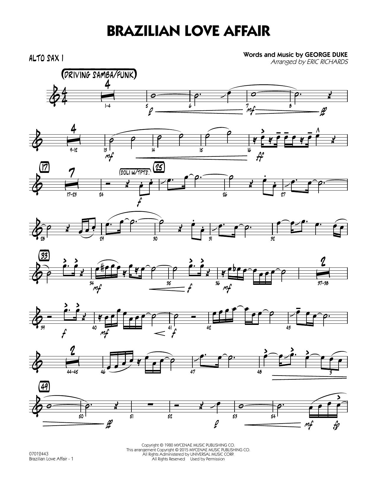 Brazilian Love Affair - Alto Sax 1 (Jazz Ensemble)