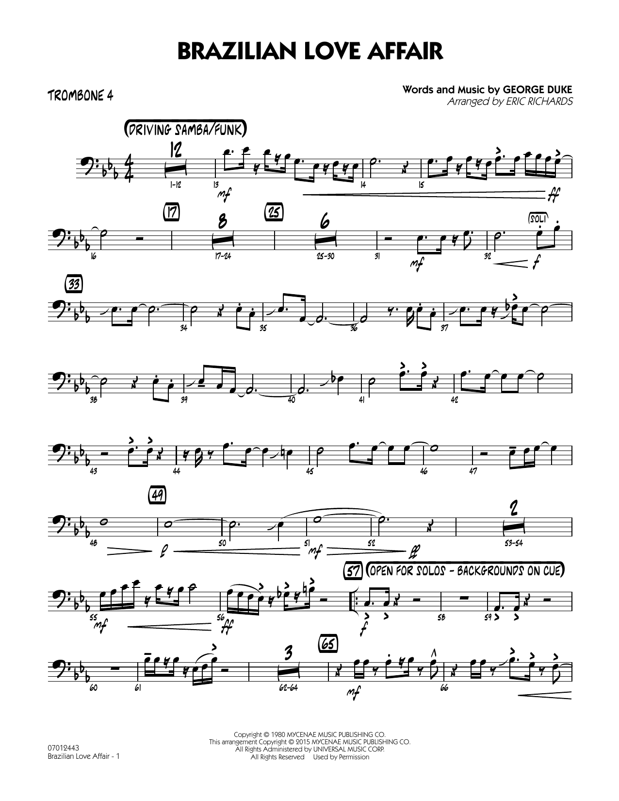 Brazilian Love Affair - Trombone 4 (Jazz Ensemble)