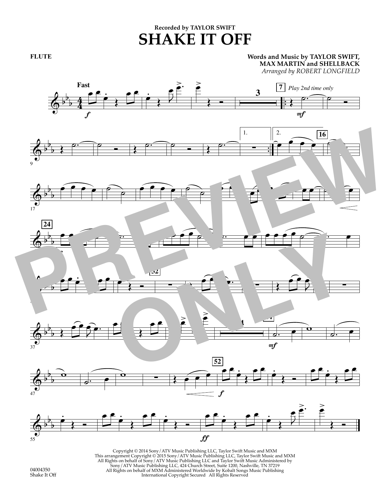 Shake It Off - Flute (Concert Band)