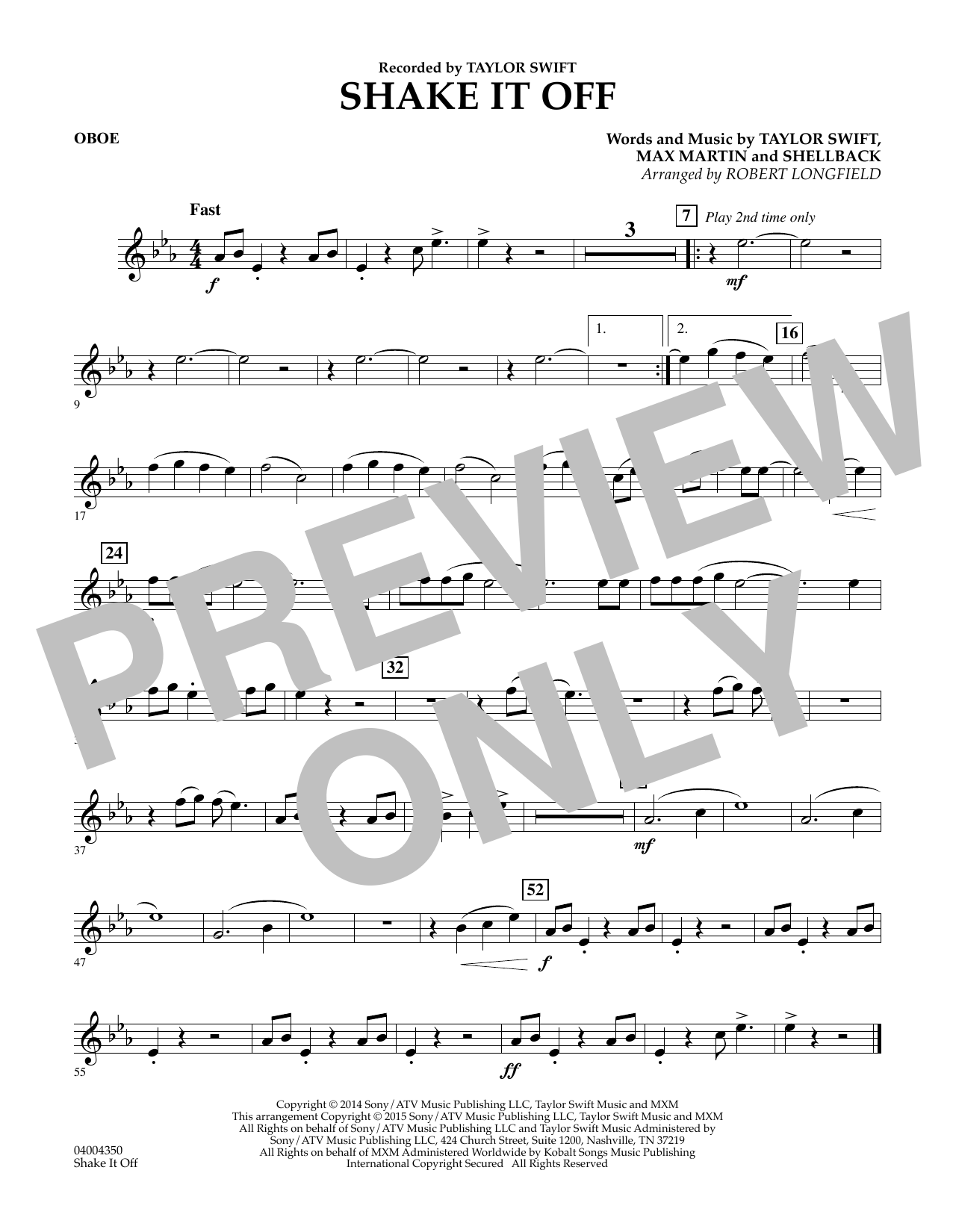 Shake It Off - Oboe (Concert Band)