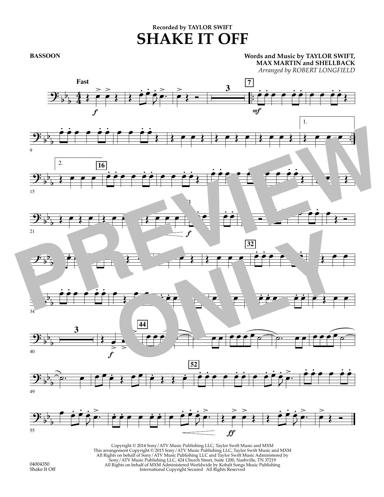 Shake It Off - Bassoon (Concert Band)