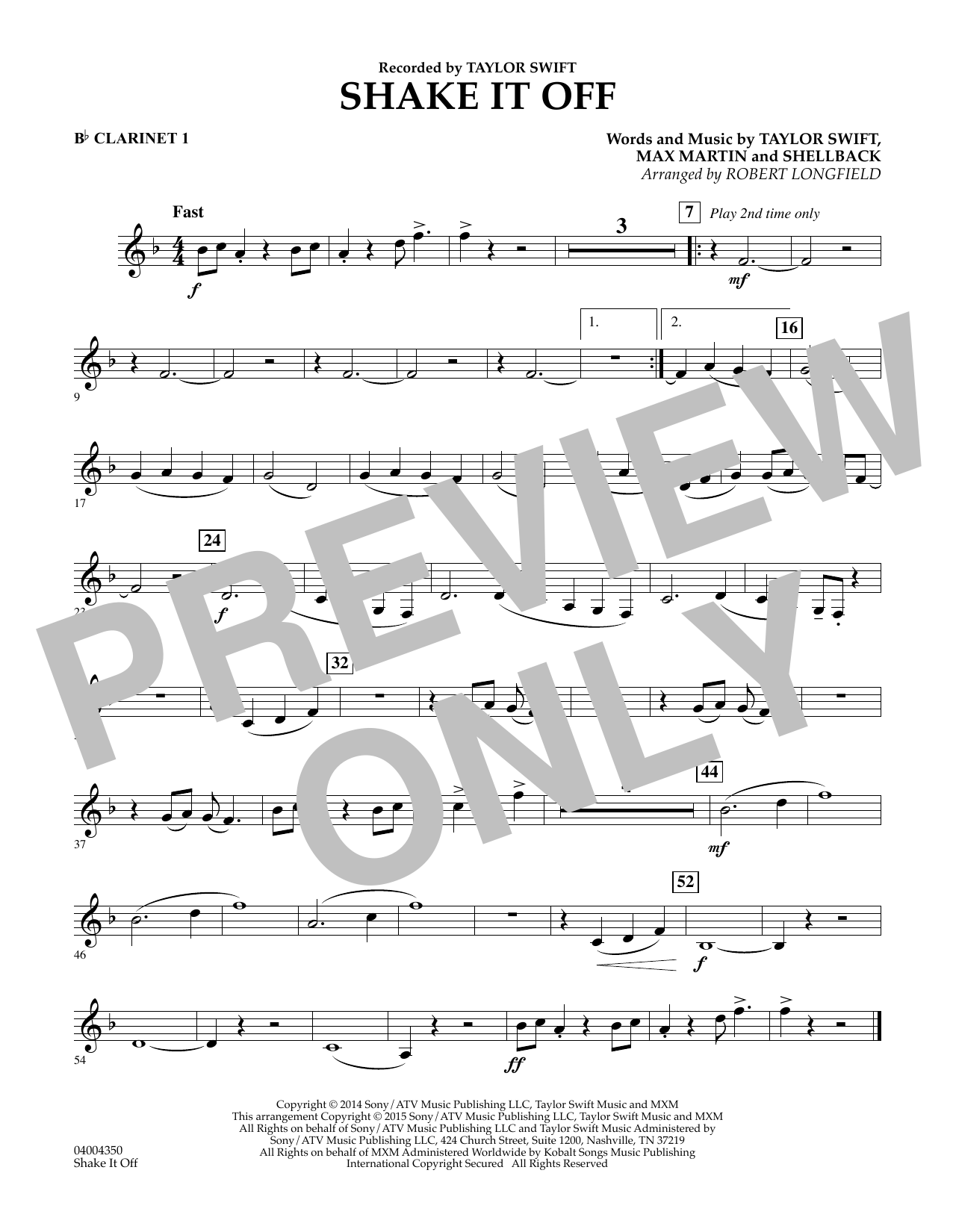 Shake It Off - Bb Clarinet 1 (Concert Band)