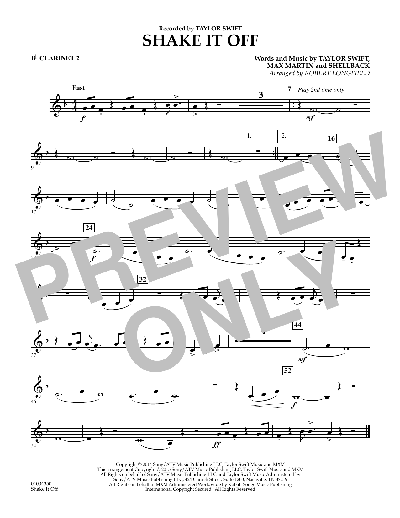 Shake It Off - Bb Clarinet 2 (Concert Band)