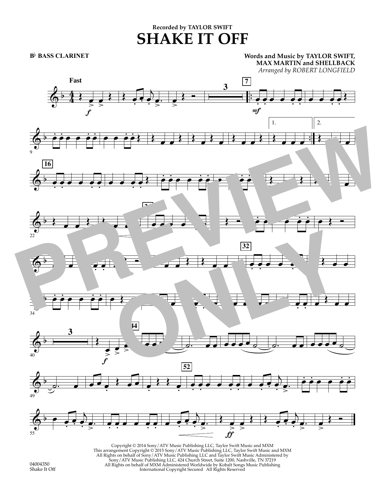Shake It Off - Bb Bass Clarinet (Concert Band)