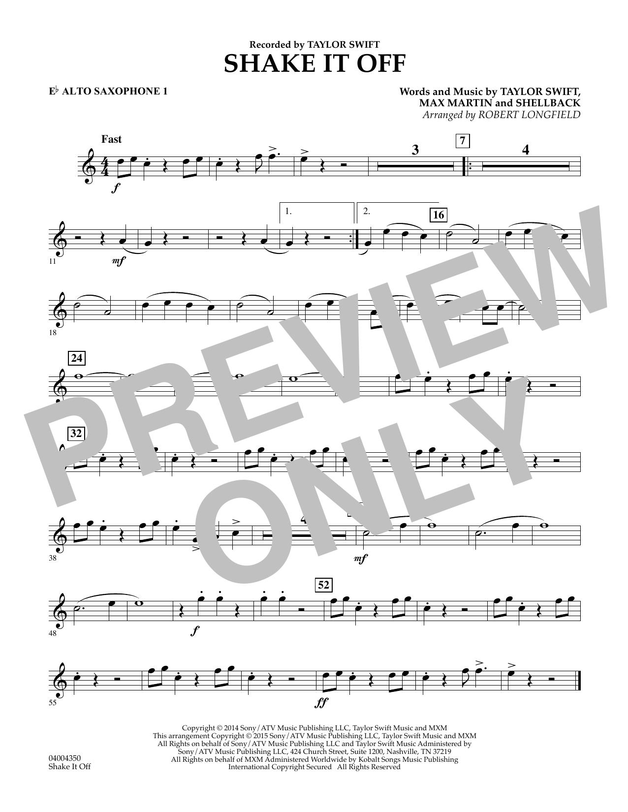 Shake It Off - Eb Alto Saxophone 1 (Concert Band)