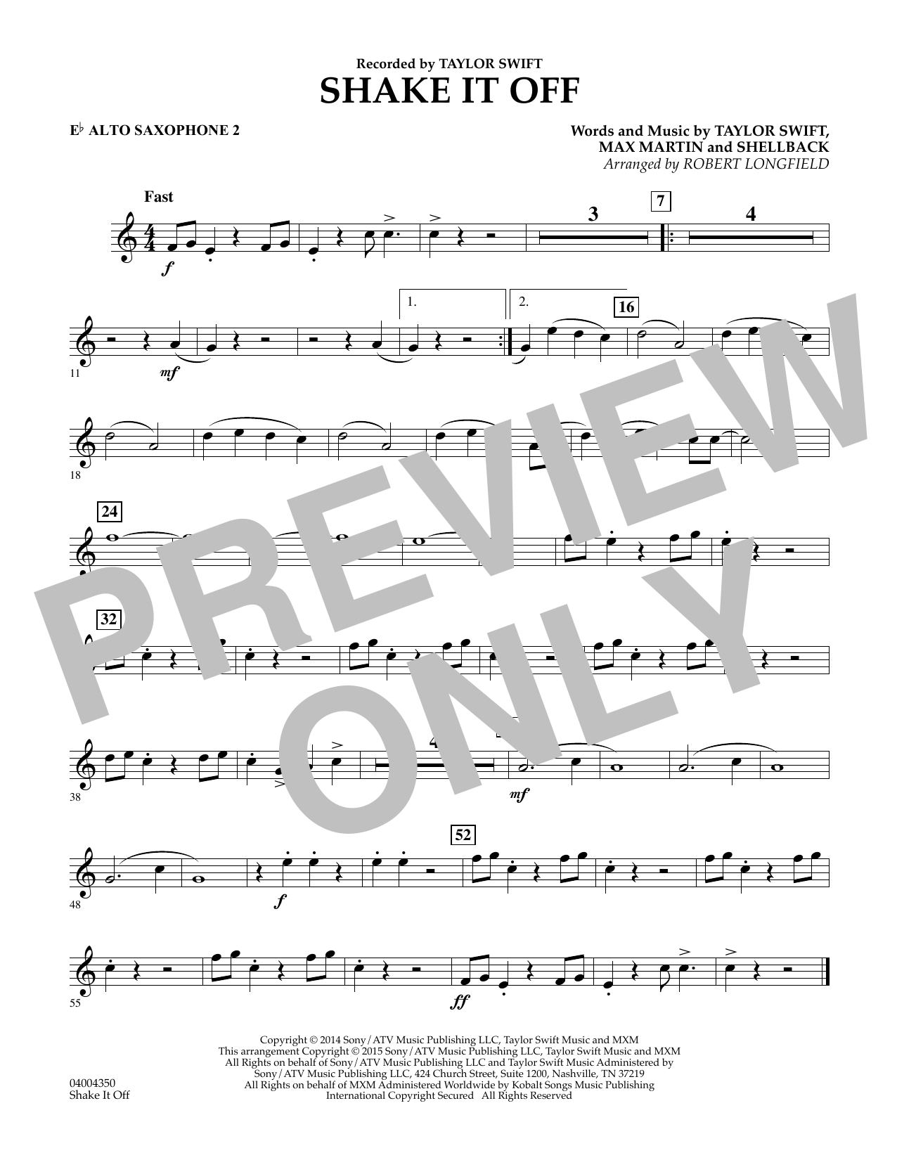 Shake It Off - Eb Alto Saxophone 2 (Concert Band)