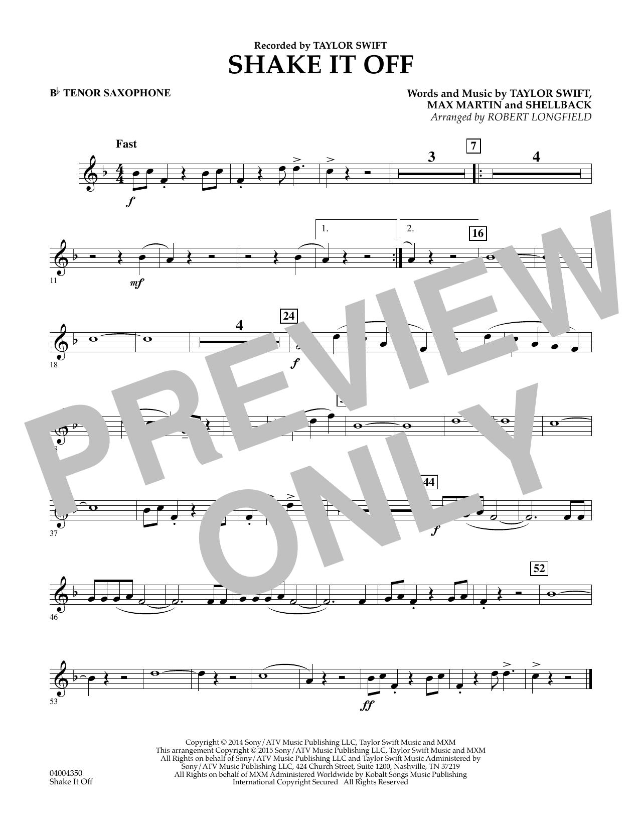 Shake It Off - Bb Tenor Saxophone (Concert Band)