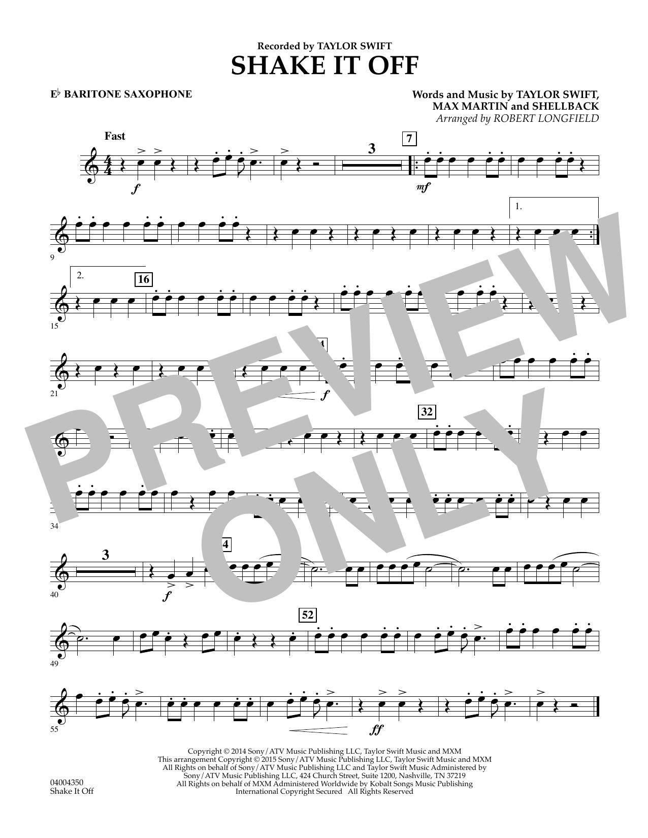 Shake It Off - Eb Baritone Saxophone (Concert Band)