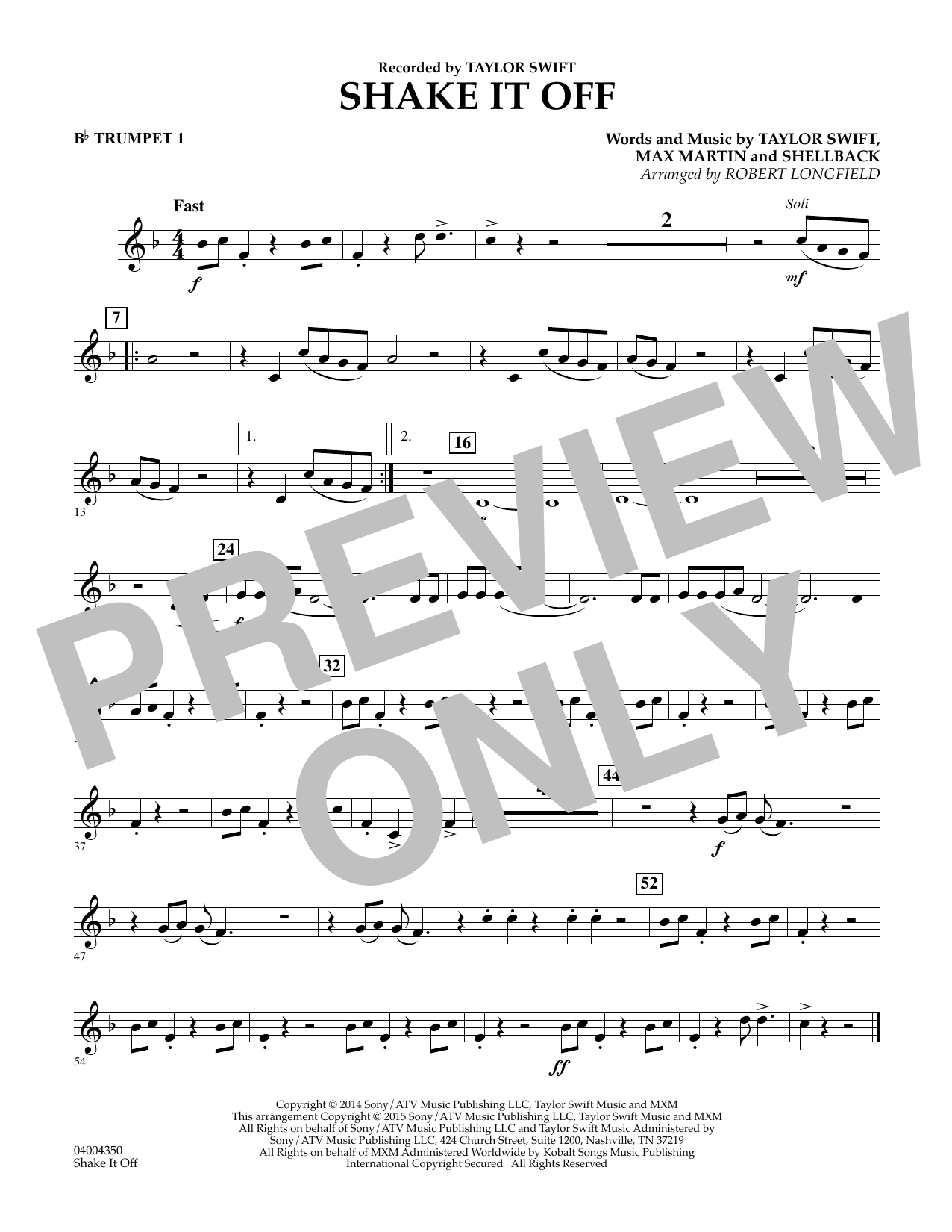 Shake It Off - Bb Trumpet 1 (Concert Band)