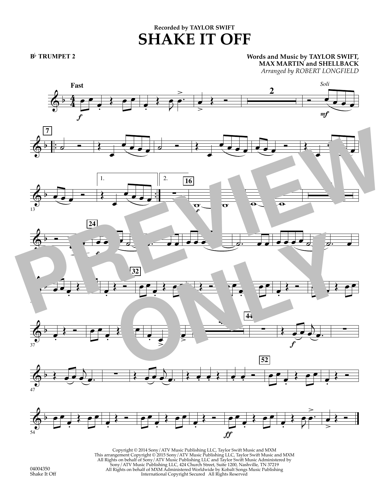 Shake It Off - Bb Trumpet 2 (Concert Band)