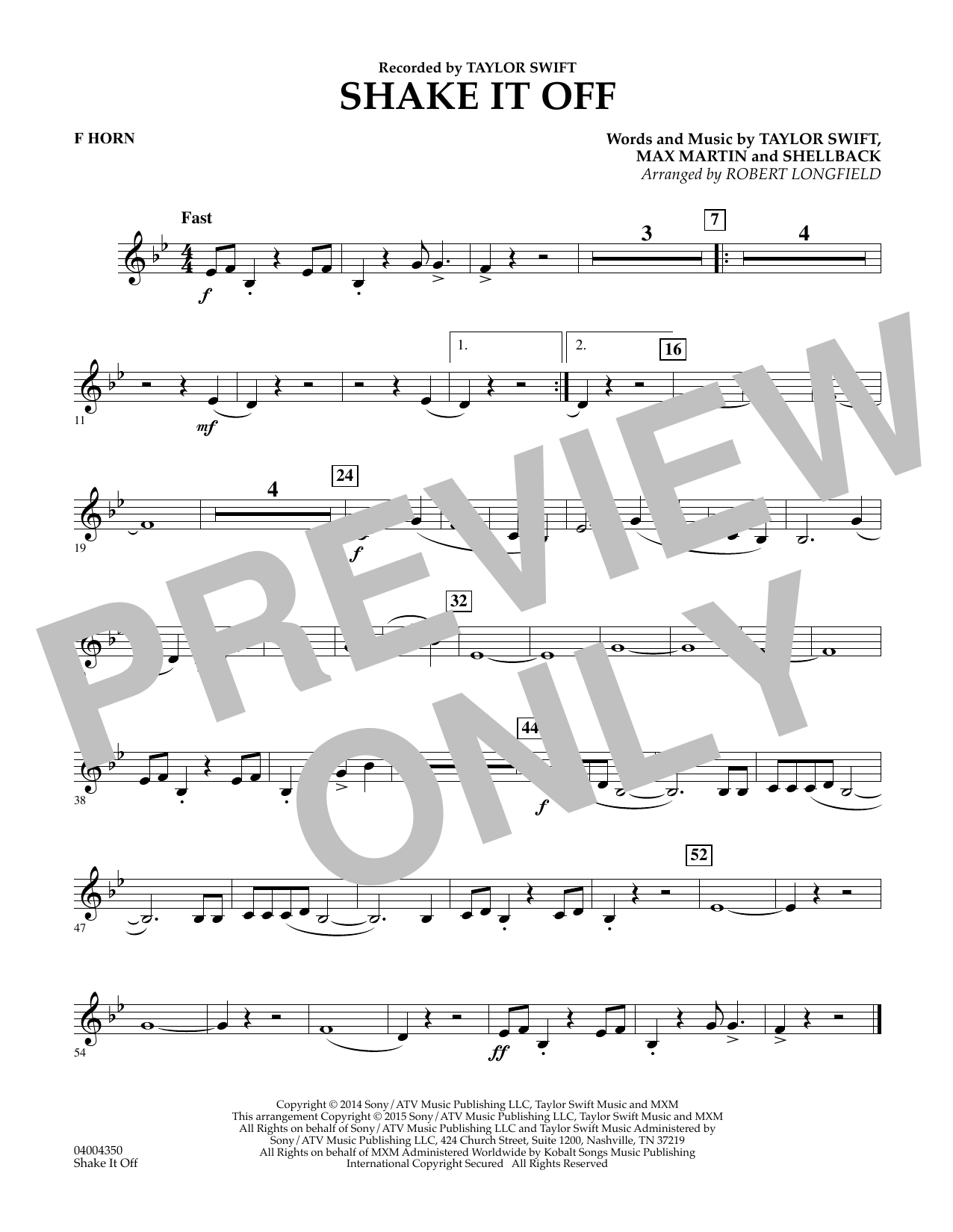 Shake It Off - F Horn (Concert Band)