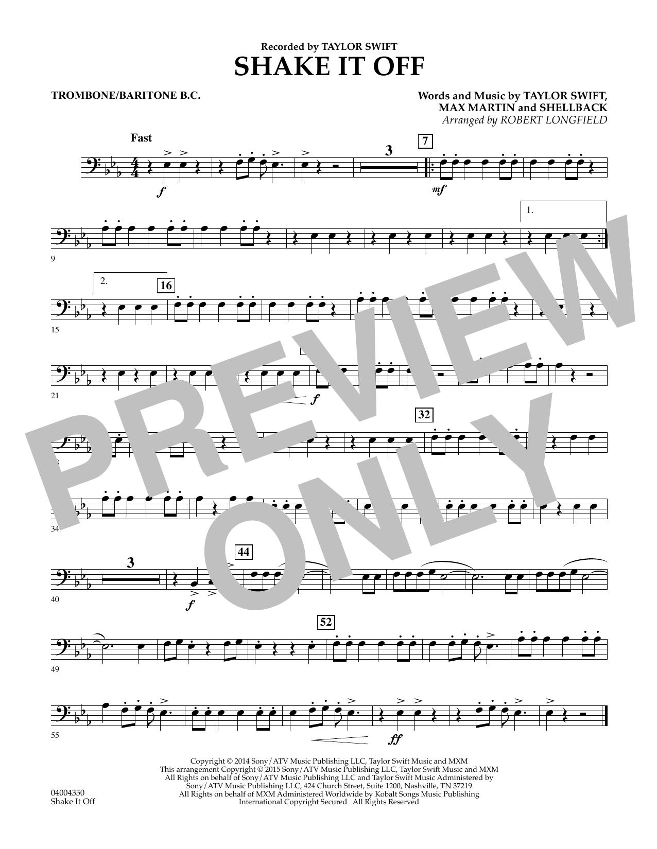 Shake It Off - Trombone/Baritone B.C. (Concert Band)