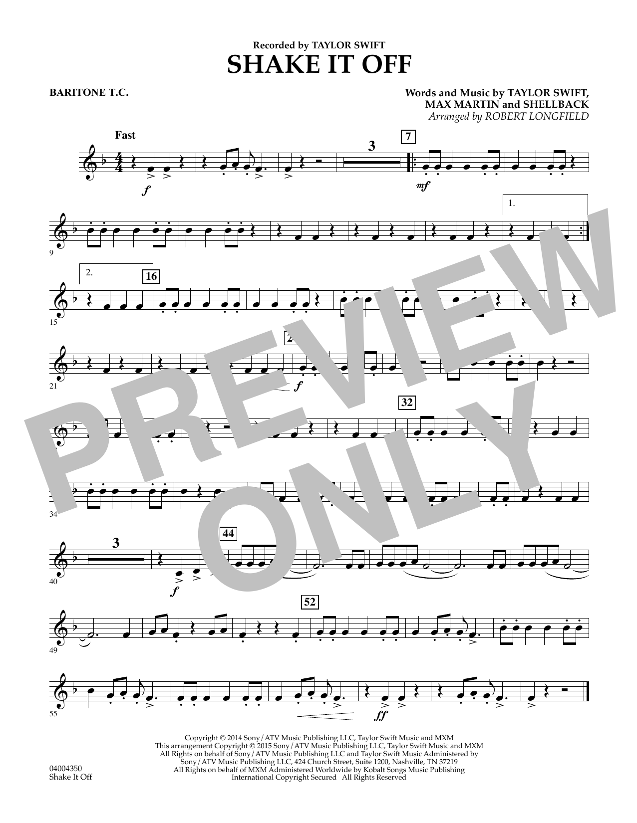 Shake It Off - Baritone T.C. (Concert Band)