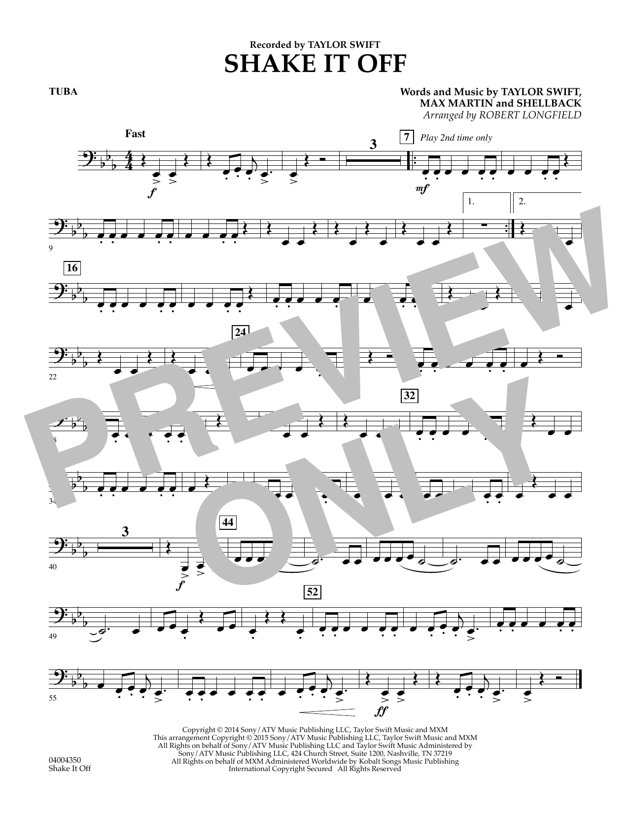 Shake It Off - Tuba (Concert Band)
