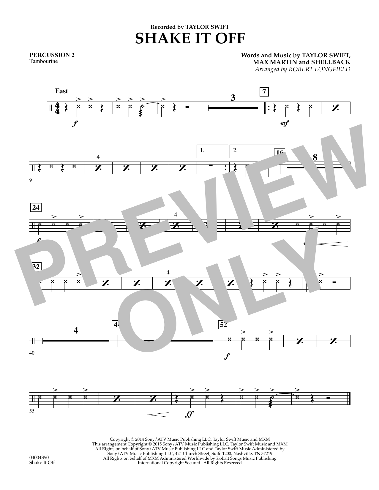 Shake It Off - Percussion 2 (Concert Band)