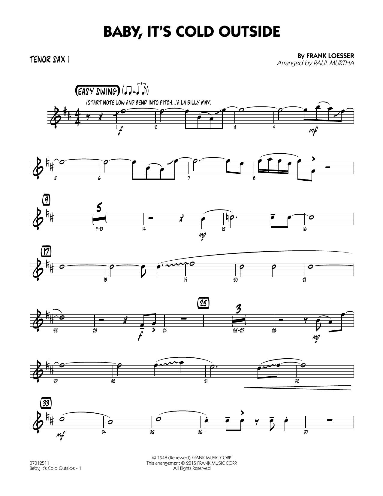 Baby, It's Cold Outside (Key: C) - Tenor Sax 1 (Jazz Ensemble)