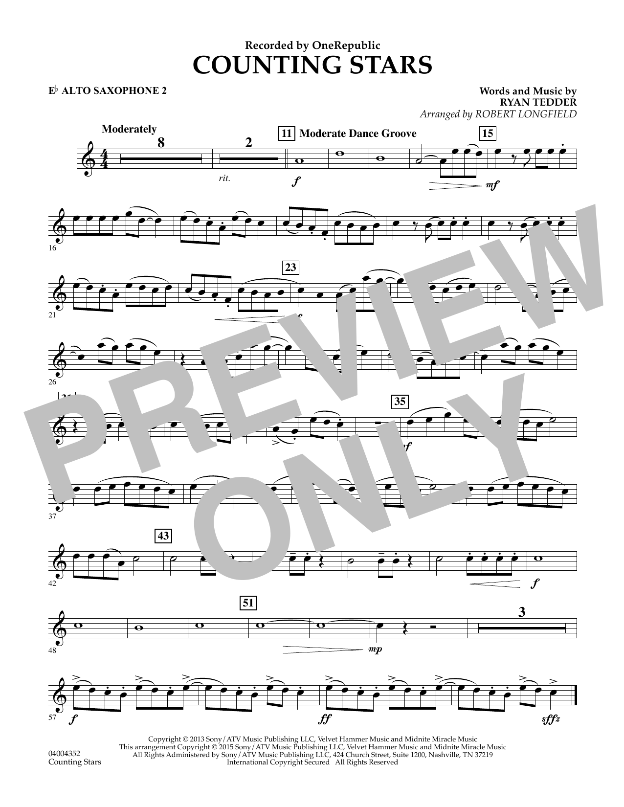 Counting Stars - Eb Alto Saxophone 2 (Concert Band)