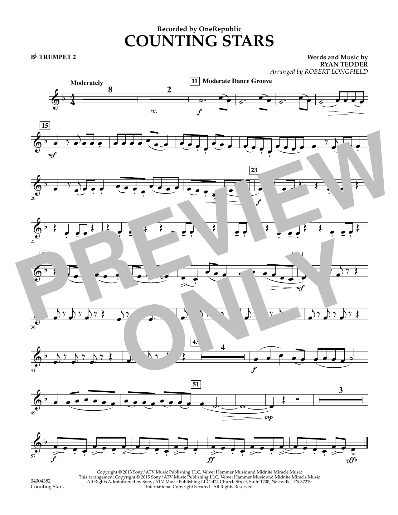 Counting Stars - Bb Trumpet 2 (Concert Band)